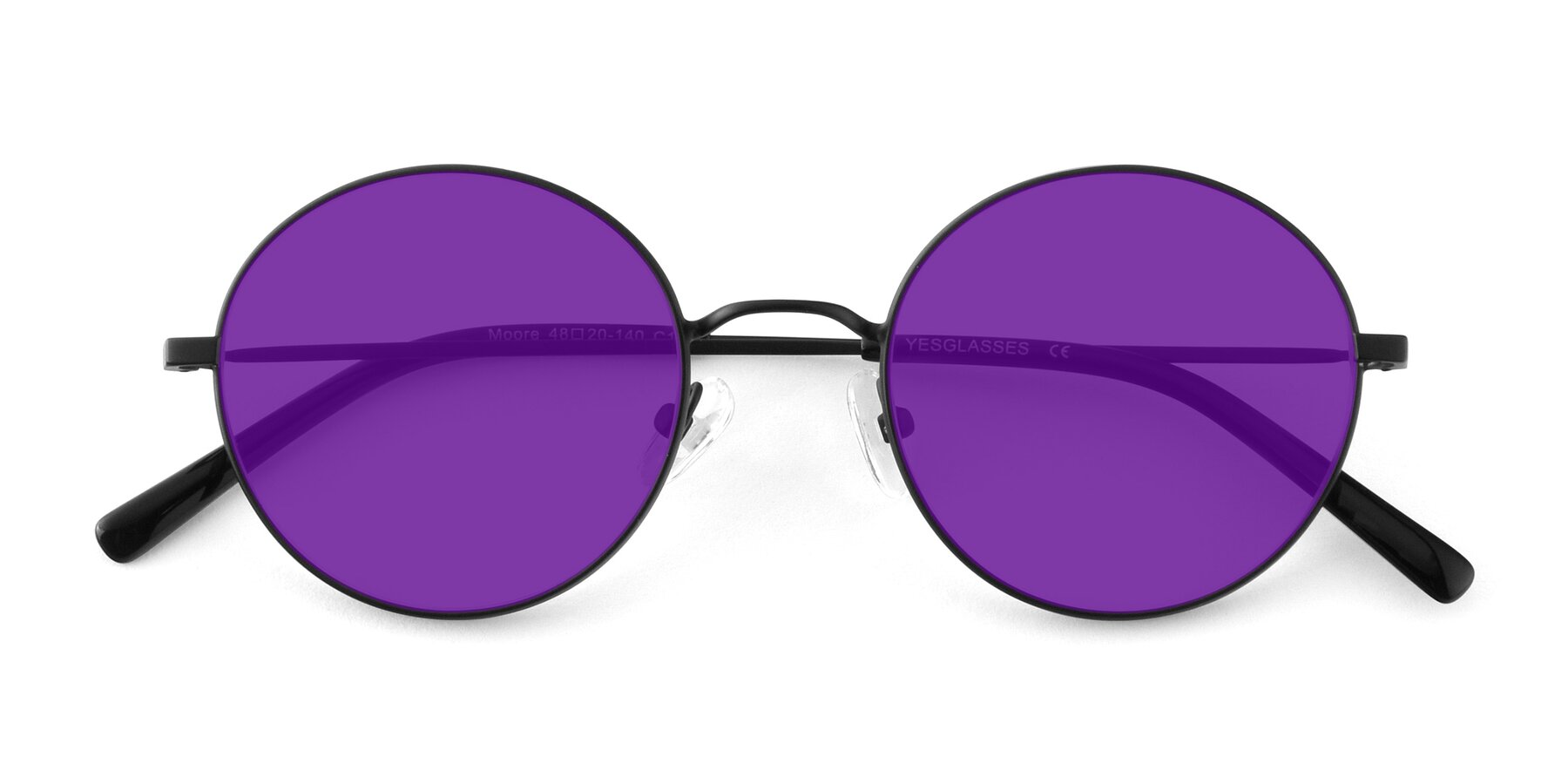 Folded Front of Moore in Black with Purple Tinted Lenses