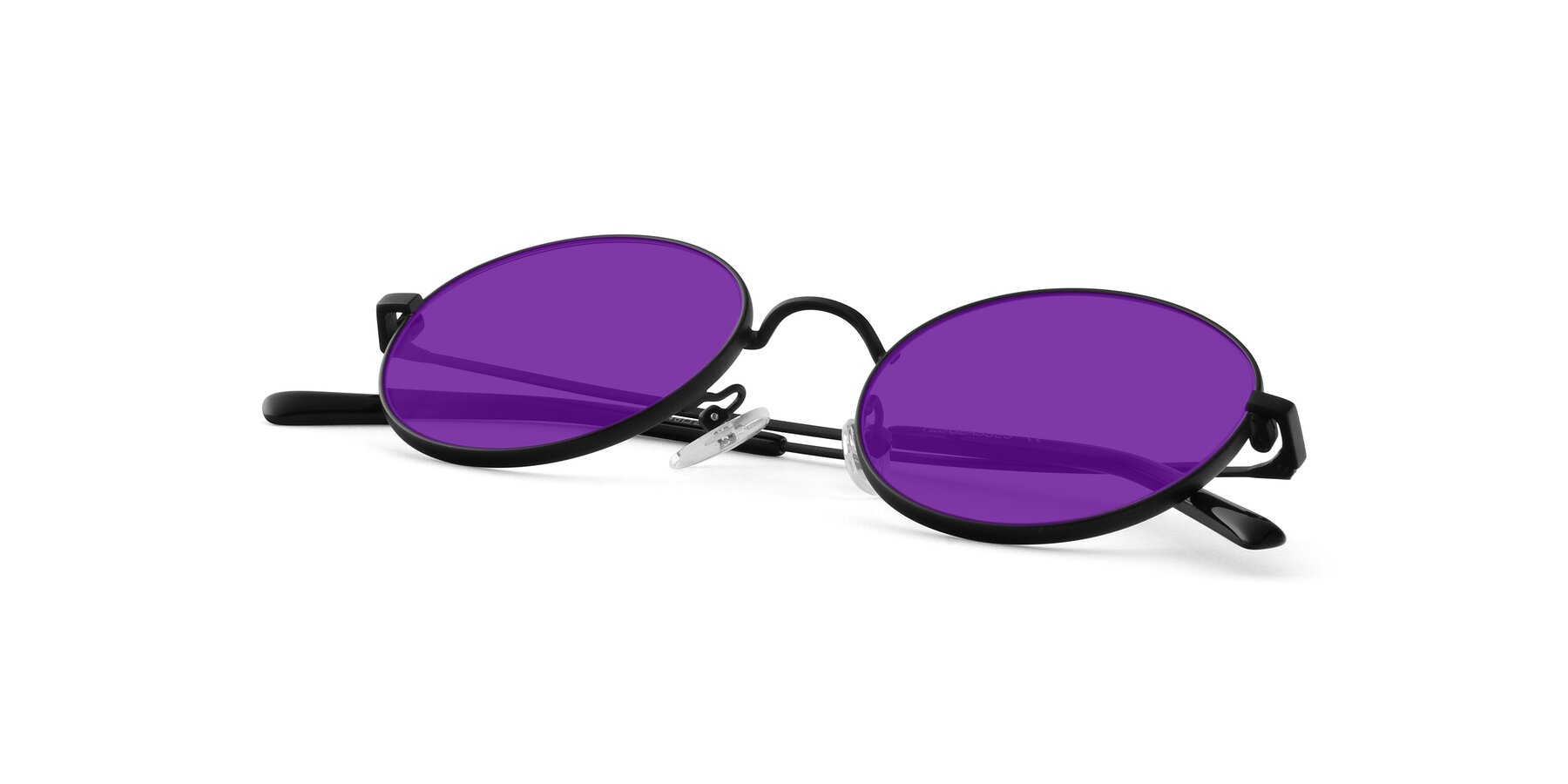 View of Moore in Black with Purple Tinted Lenses