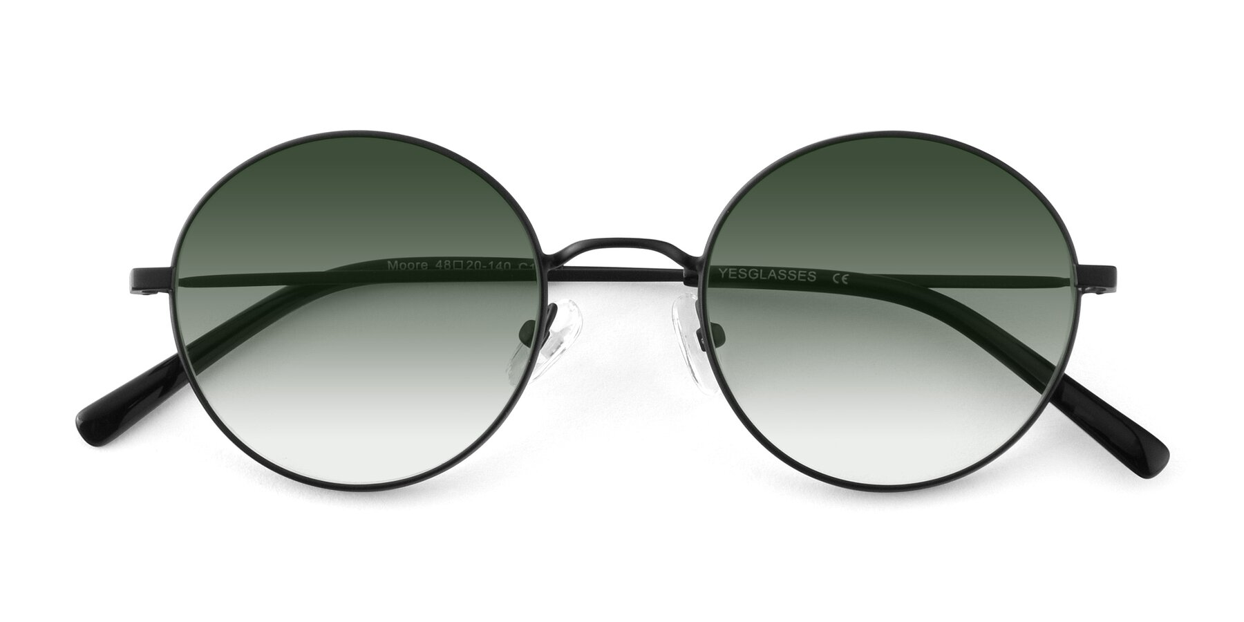Folded Front of Moore in Black with Green Gradient Lenses