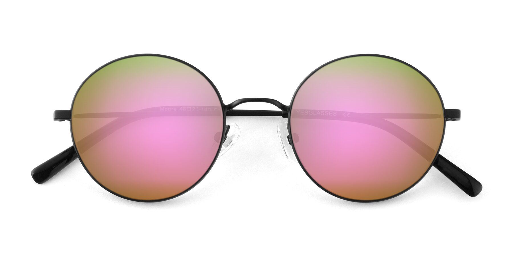 Folded Front of Moore in Black with Pink Mirrored Lenses