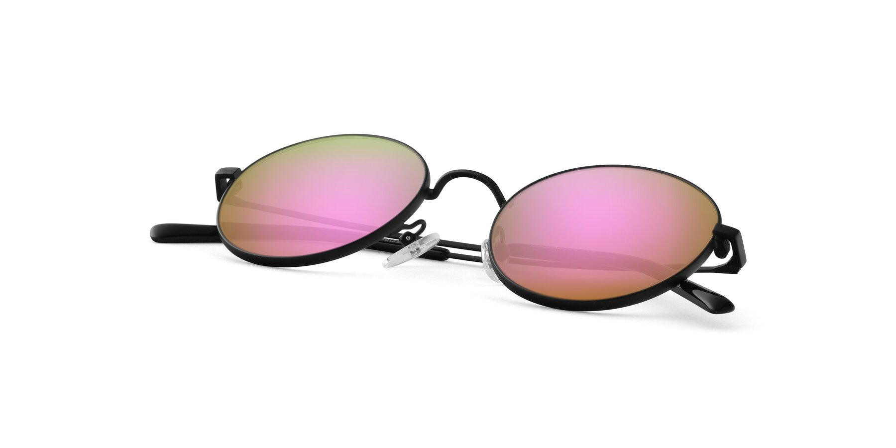 View of Moore in Black with Pink Mirrored Lenses