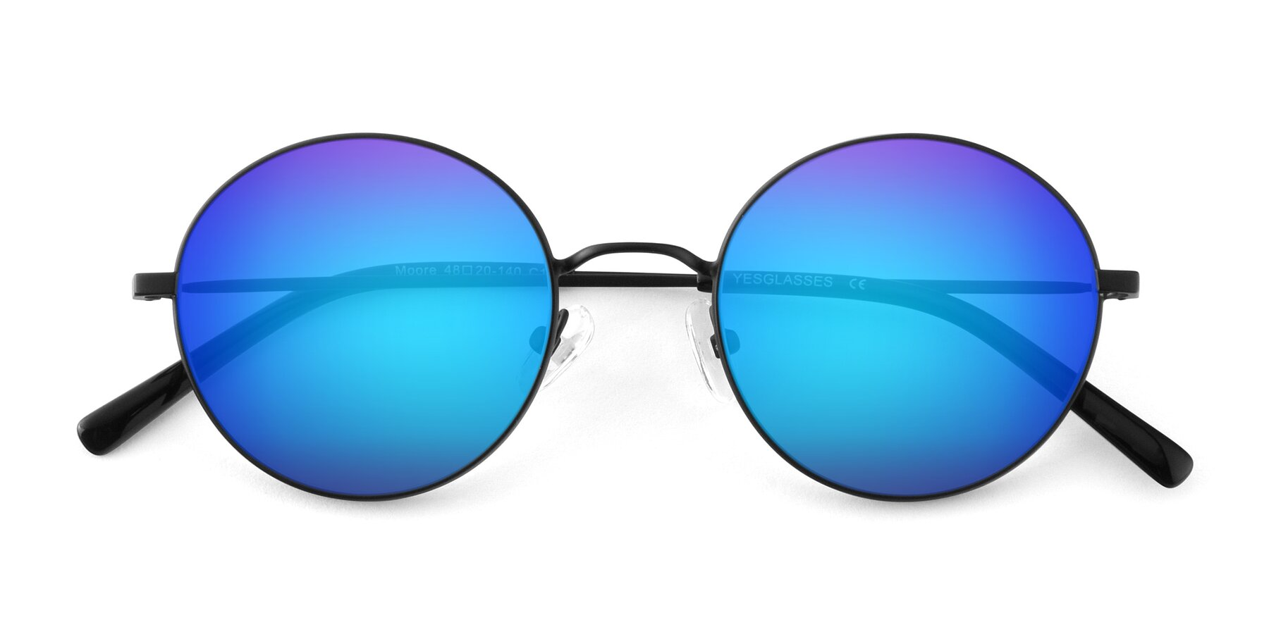 Folded Front of Moore in Black with Blue Mirrored Lenses