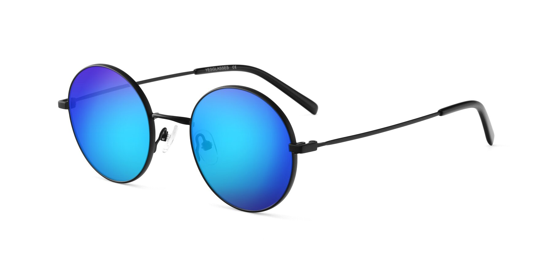 Angle of Moore in Black with Blue Mirrored Lenses