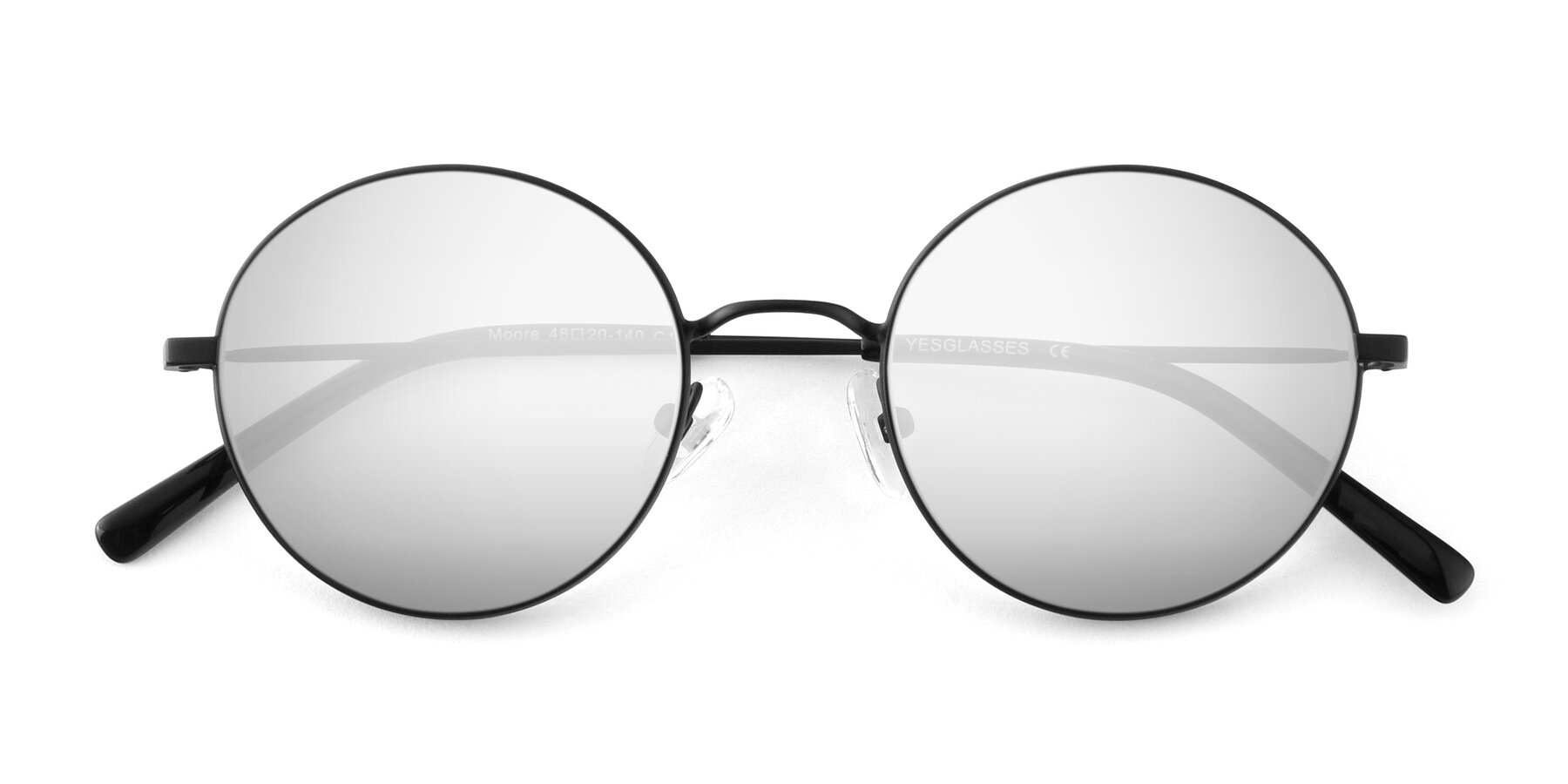 Folded Front of Moore in Black with Silver Mirrored Lenses