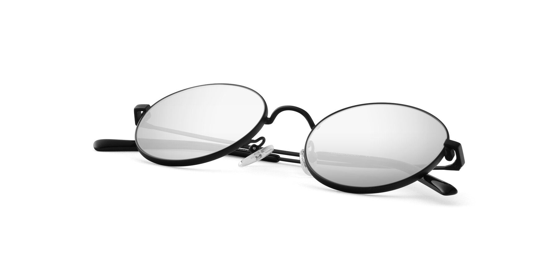 View of Moore in Black with Silver Mirrored Lenses