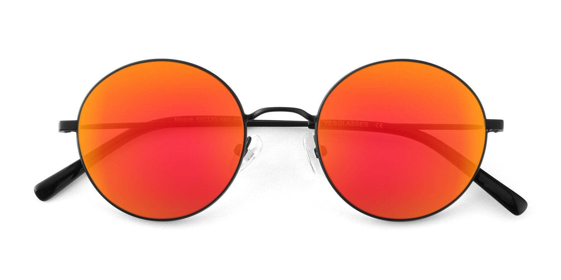 Folded Front of Moore in Black with Red Gold Mirrored Lenses