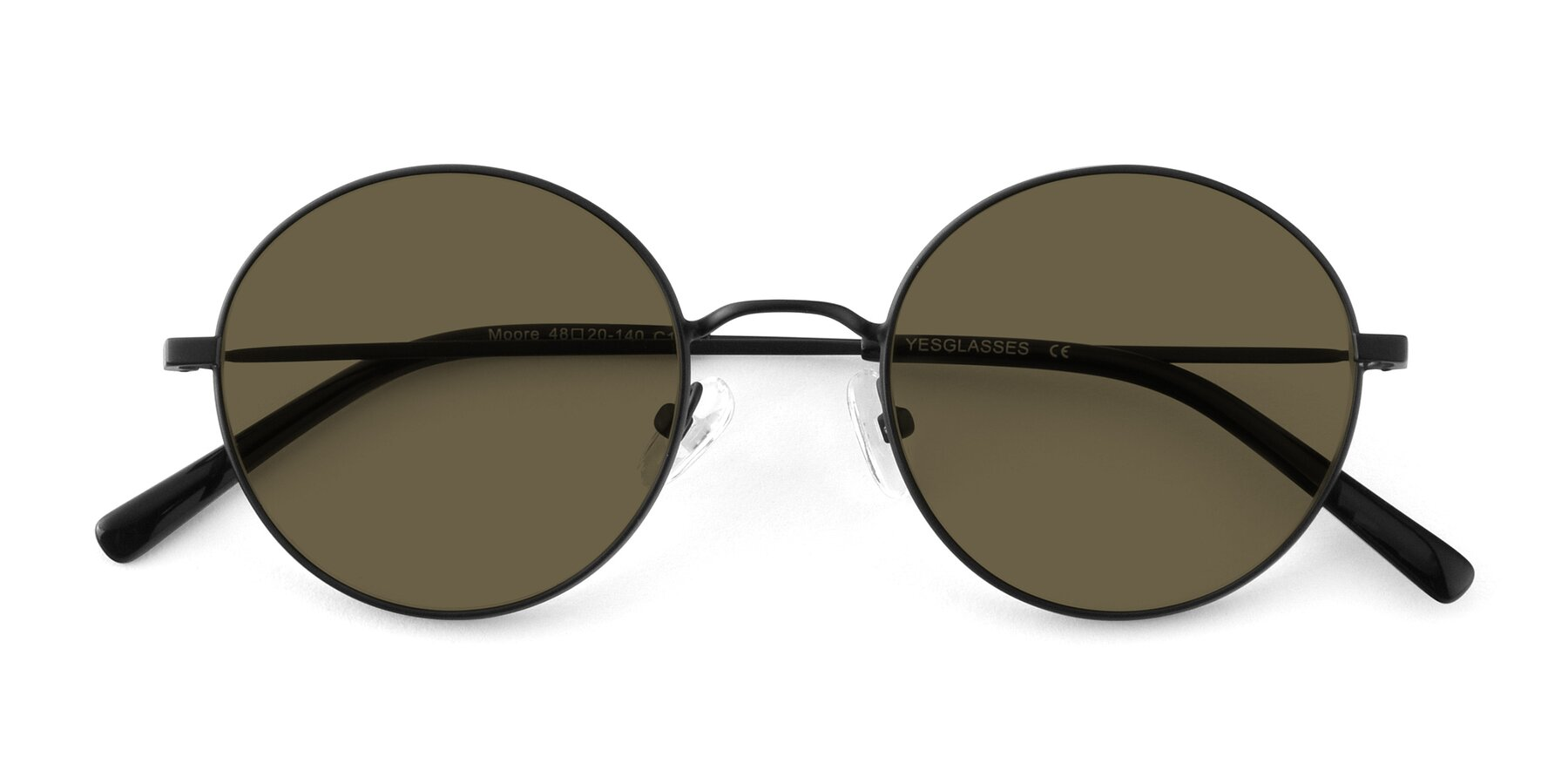Folded Front of Moore in Black with Brown Polarized Lenses