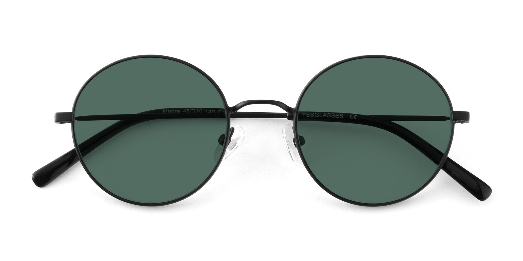 Folded Front of Moore in Black with Green Polarized Lenses