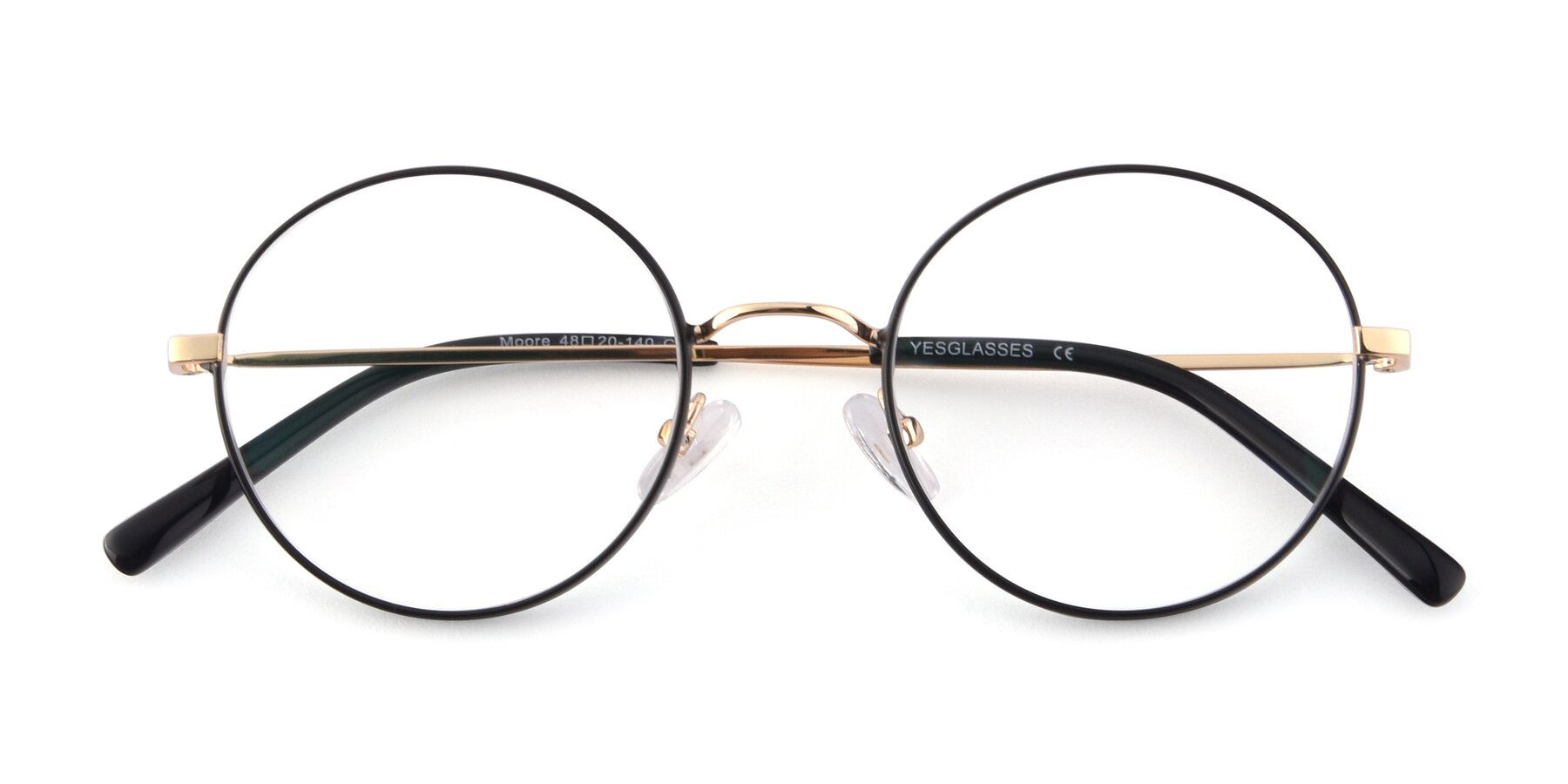 Folded Front of Moore in Black-Gold with Clear Blue Light Blocking Lenses
