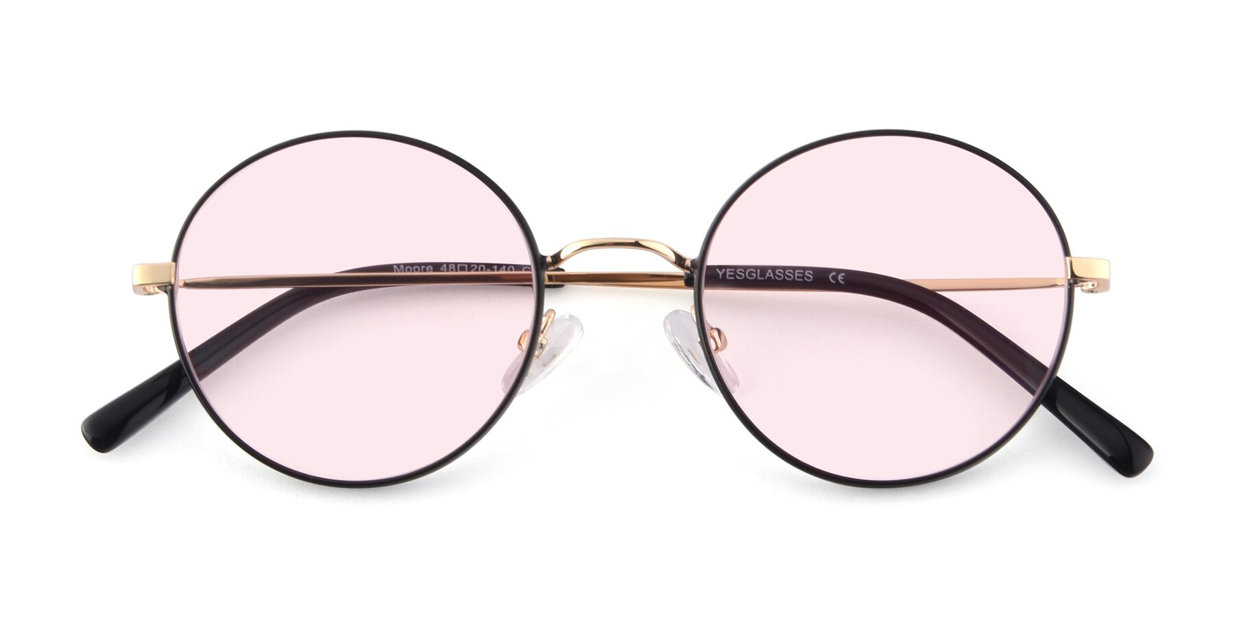 Folded Front of Moore in Black-Gold with Light Pink Tinted Lenses
