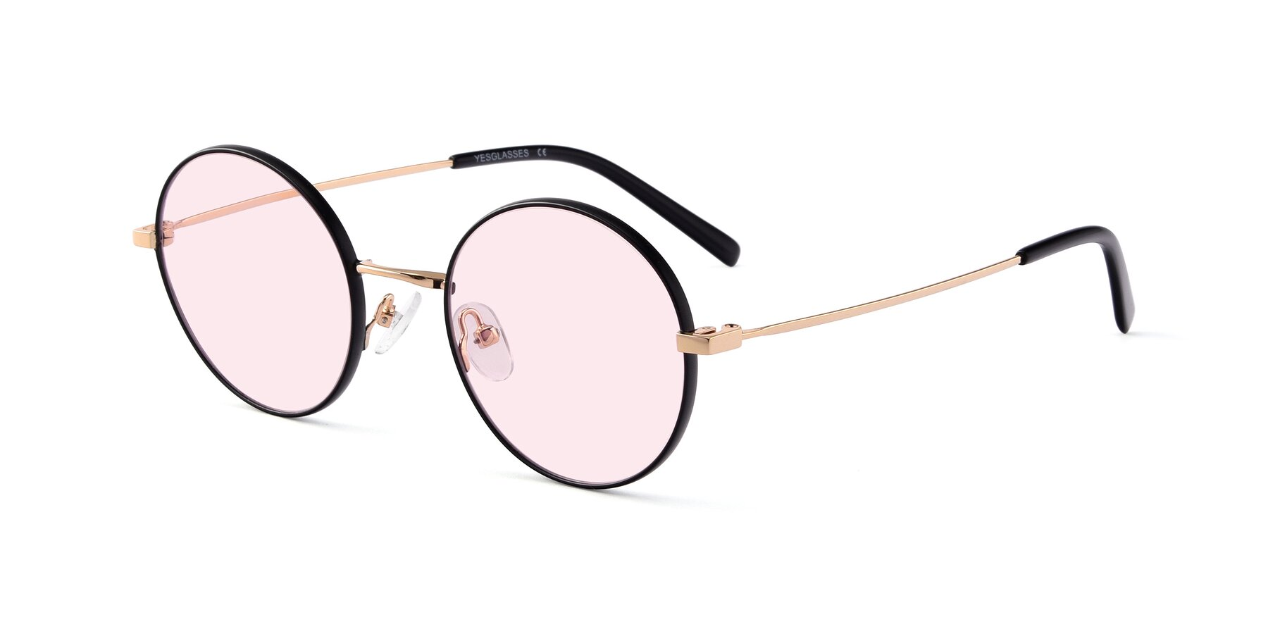 Angle of Moore in Black-Gold with Light Pink Tinted Lenses