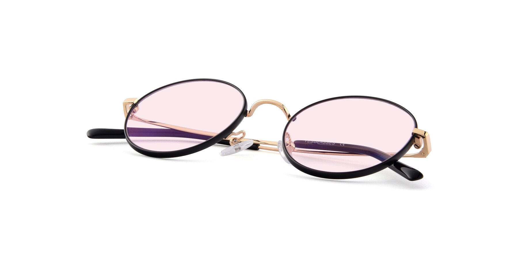 View of Moore in Black-Gold with Light Pink Tinted Lenses