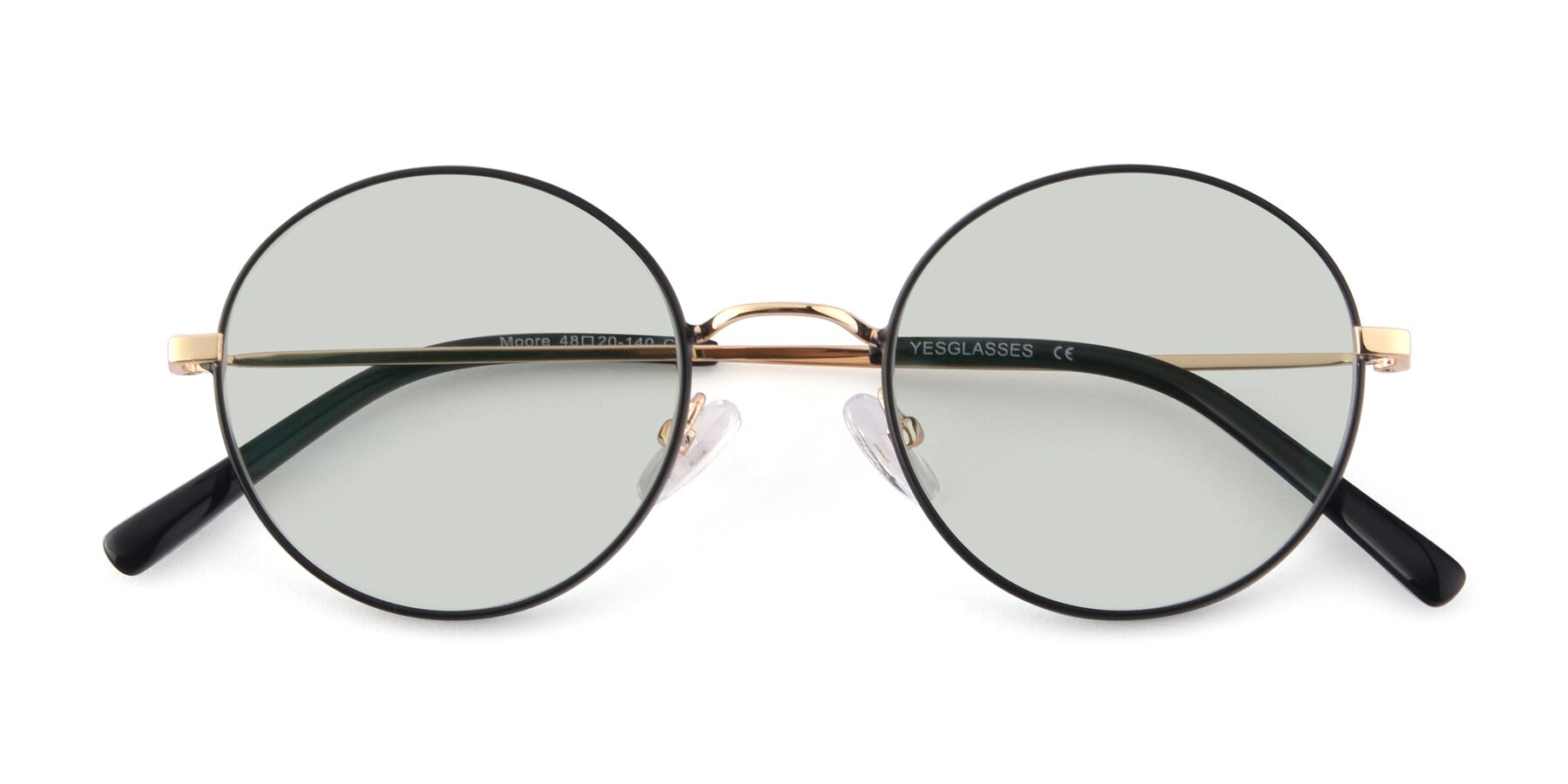 Folded Front of Moore in Black-Gold with Light Green Tinted Lenses