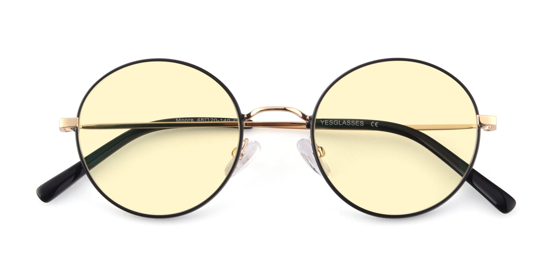 Folded Front of Moore in Black-Gold with Light Yellow Tinted Lenses