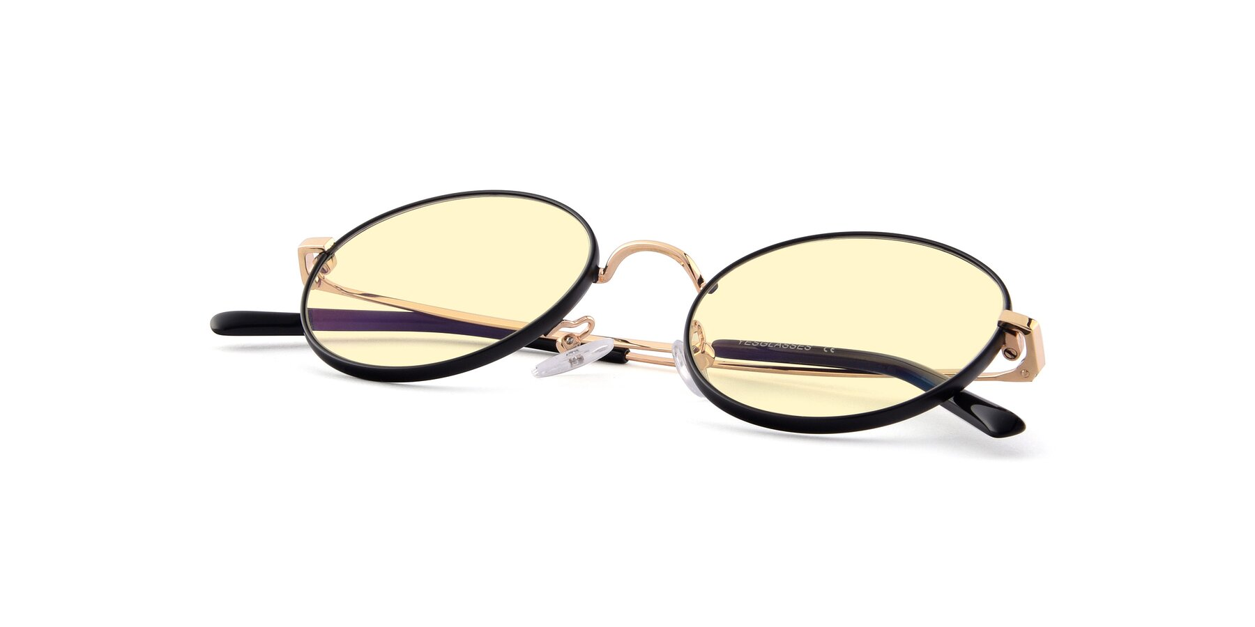 View of Moore in Black-Gold with Light Yellow Tinted Lenses