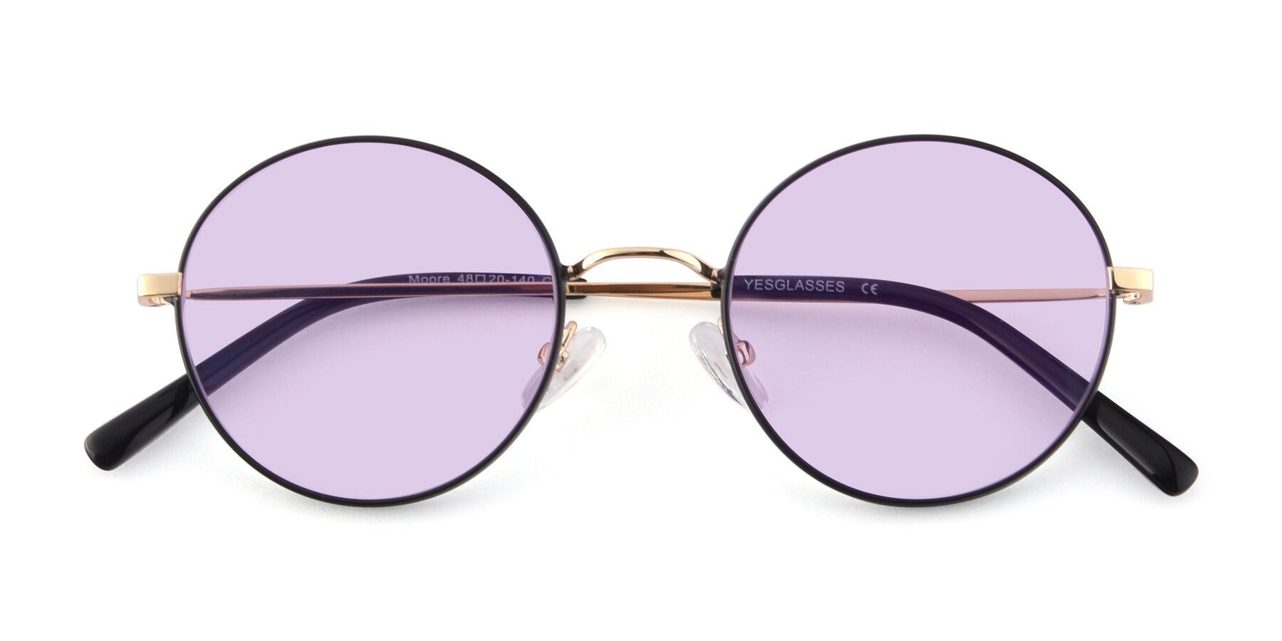 Folded Front of Moore in Black-Gold with Light Purple Tinted Lenses