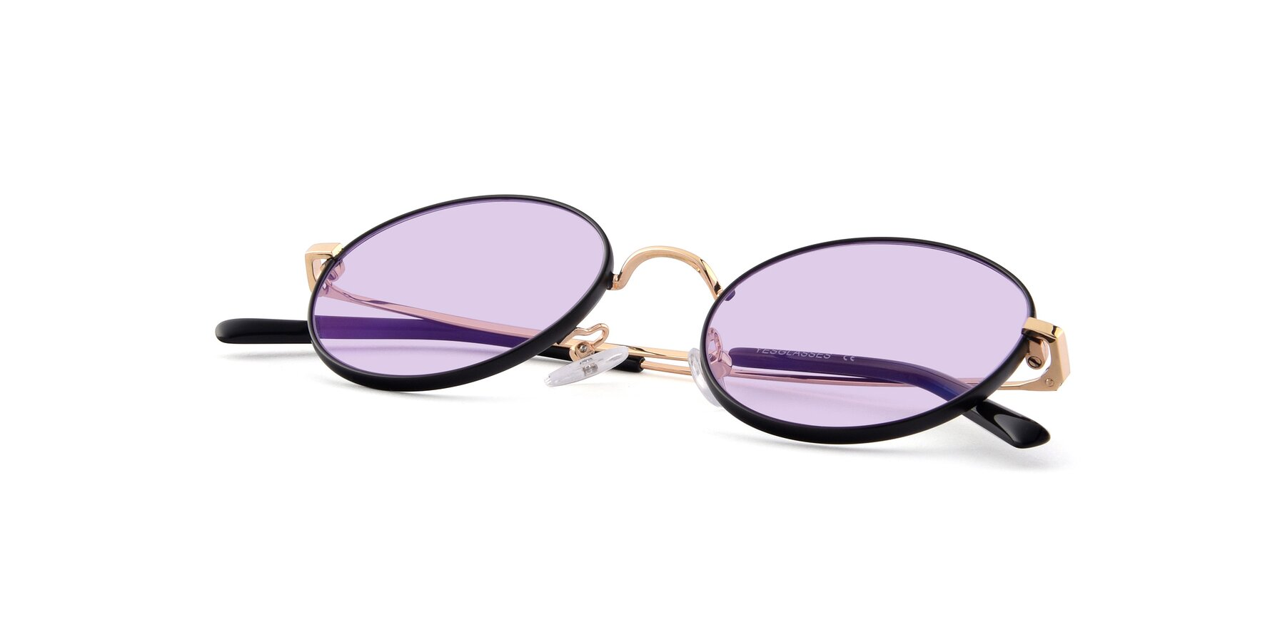 View of Moore in Black-Gold with Light Purple Tinted Lenses