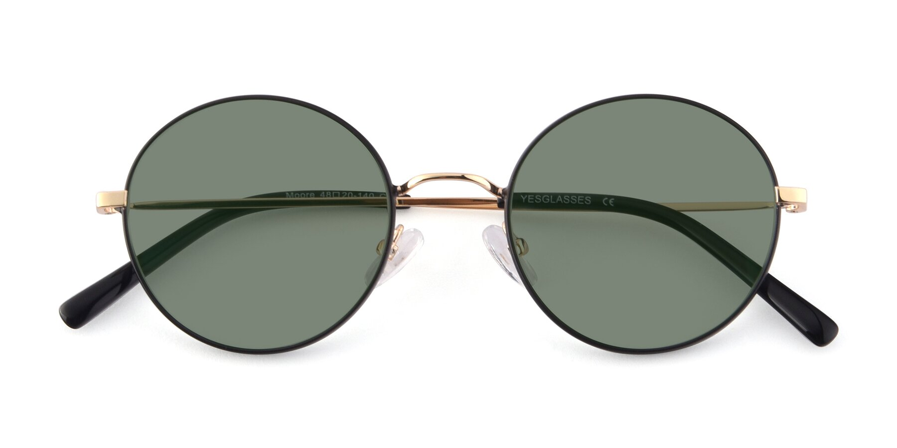 Folded Front of Moore in Black-Gold with Medium Green Tinted Lenses