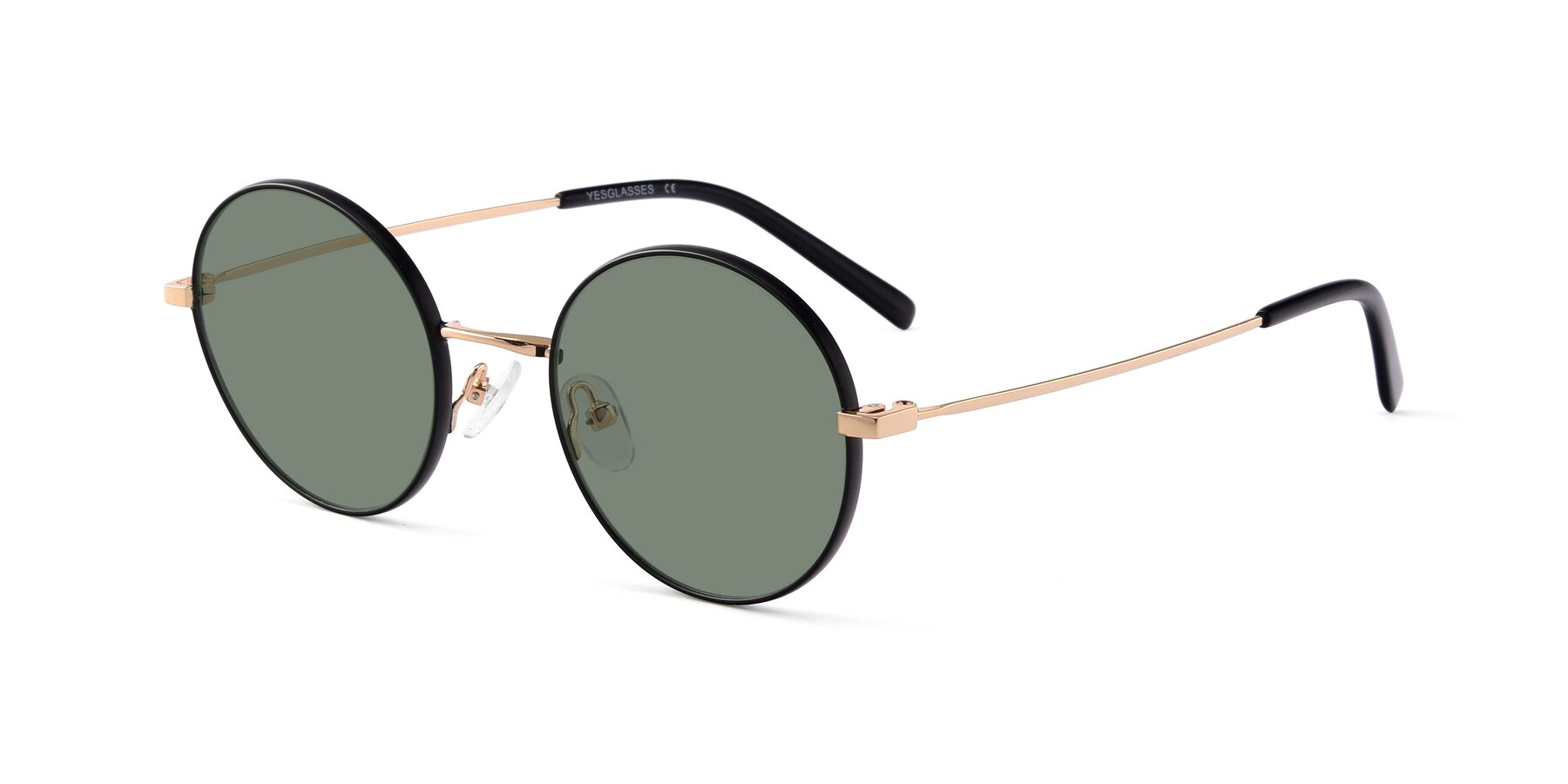 Angle of Moore in Black-Gold with Medium Green Tinted Lenses