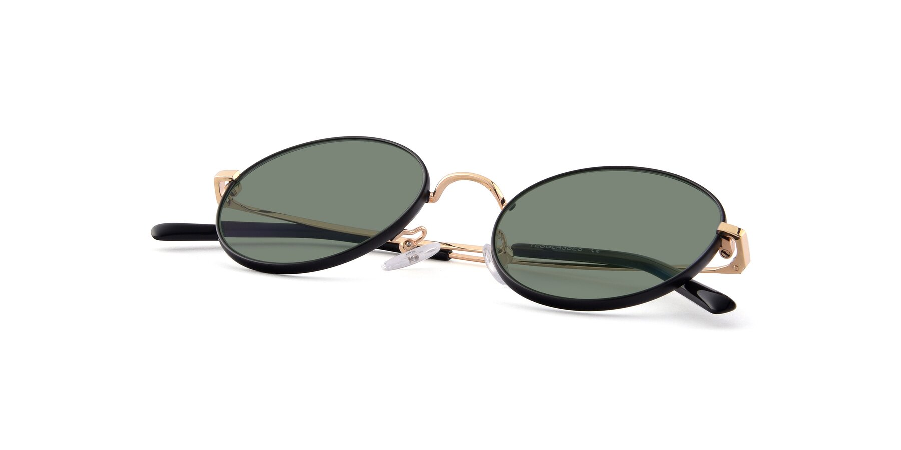 View of Moore in Black-Gold with Medium Green Tinted Lenses