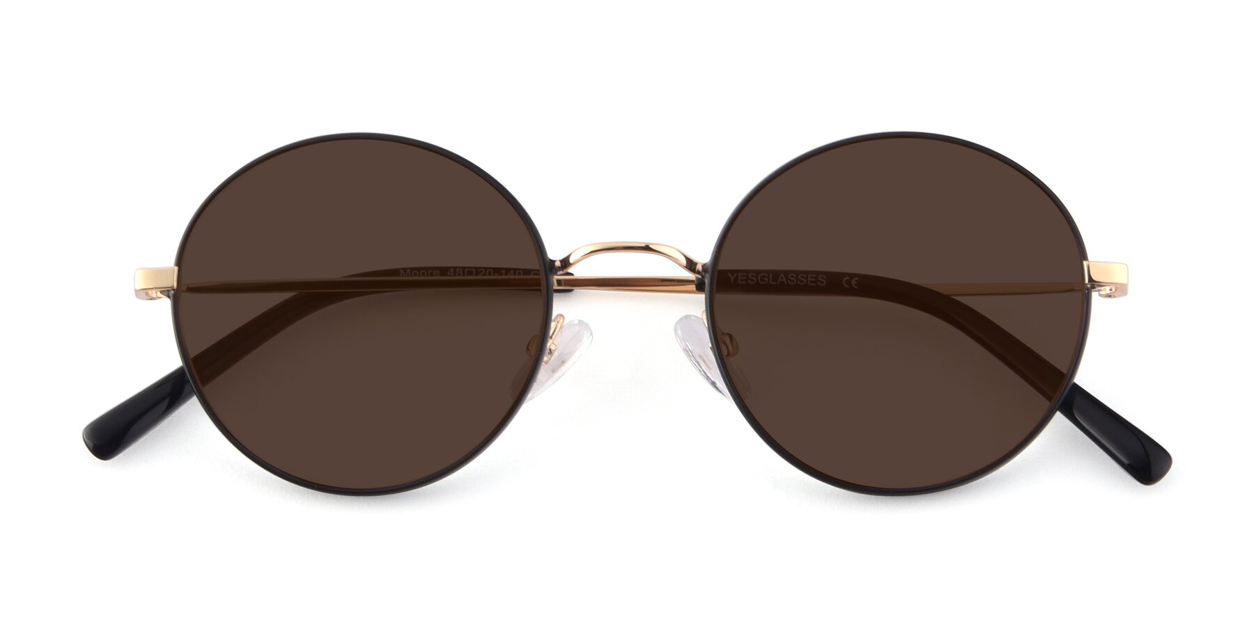 Folded Front of Moore in Black-Gold with Brown Tinted Lenses
