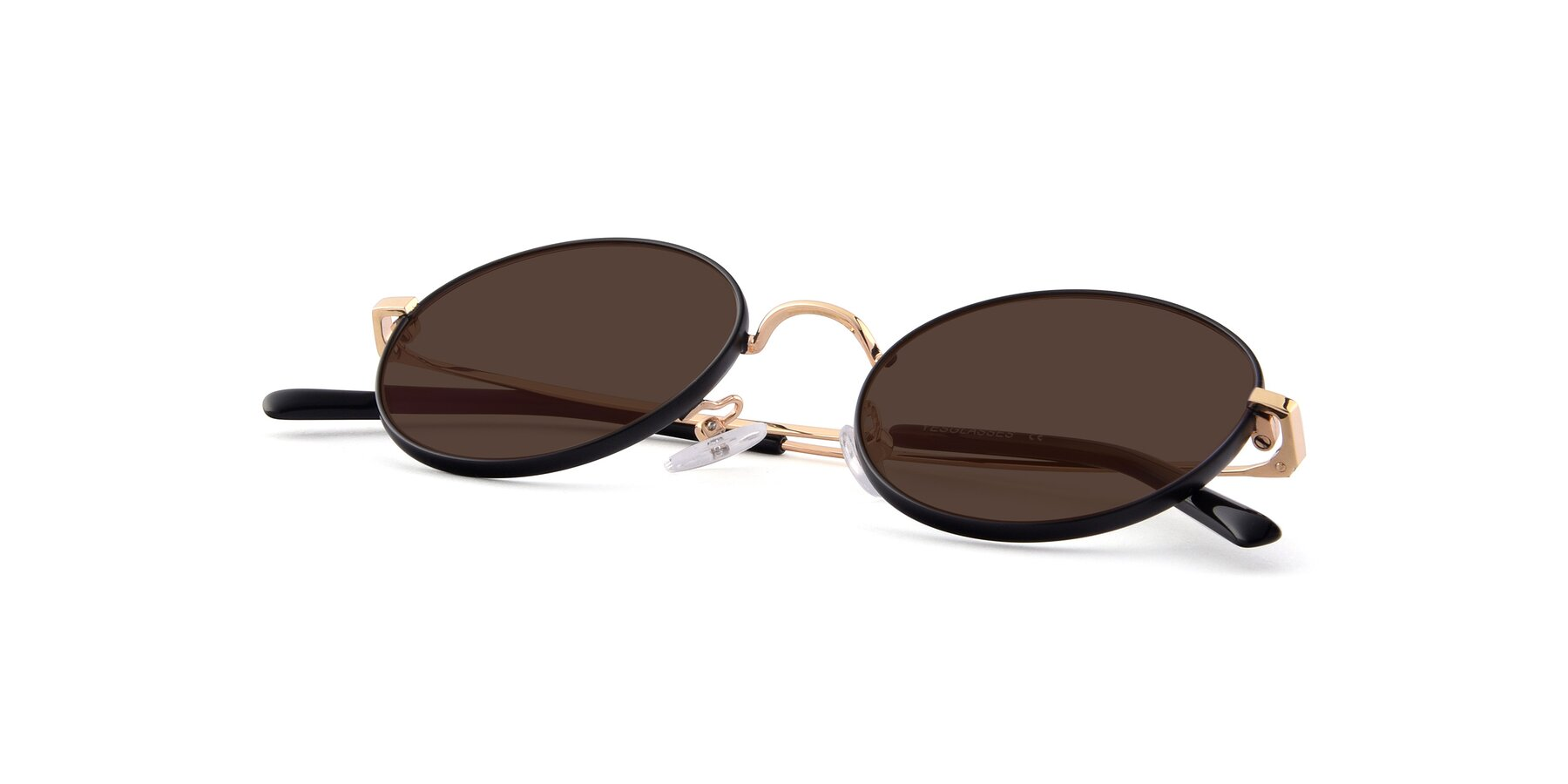 View of Moore in Black-Gold with Brown Tinted Lenses