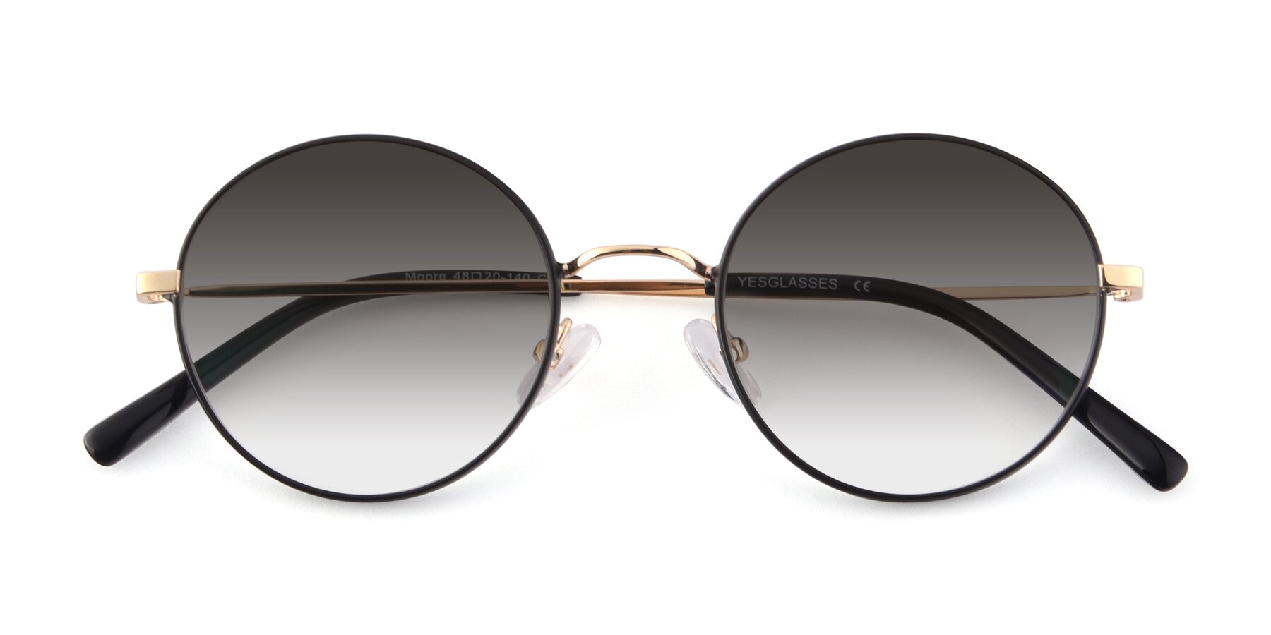 Folded Front of Moore in Black-Gold with Gray Gradient Lenses