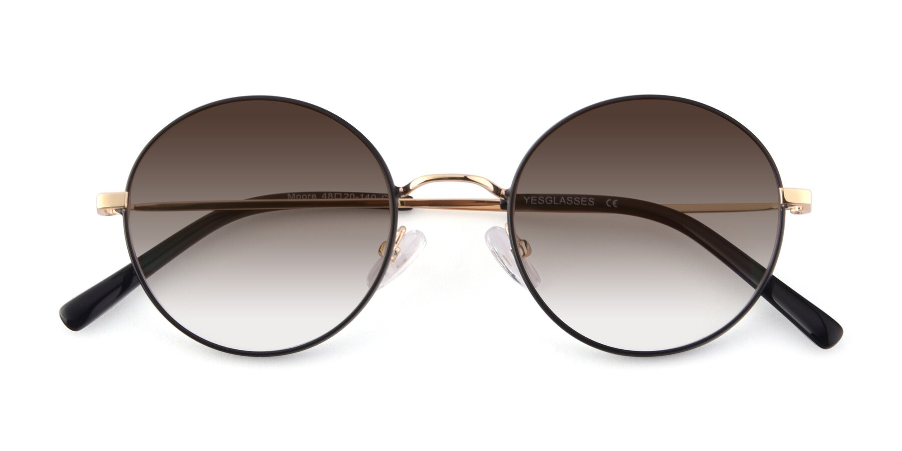 Folded Front of Moore in Black-Gold with Brown Gradient Lenses