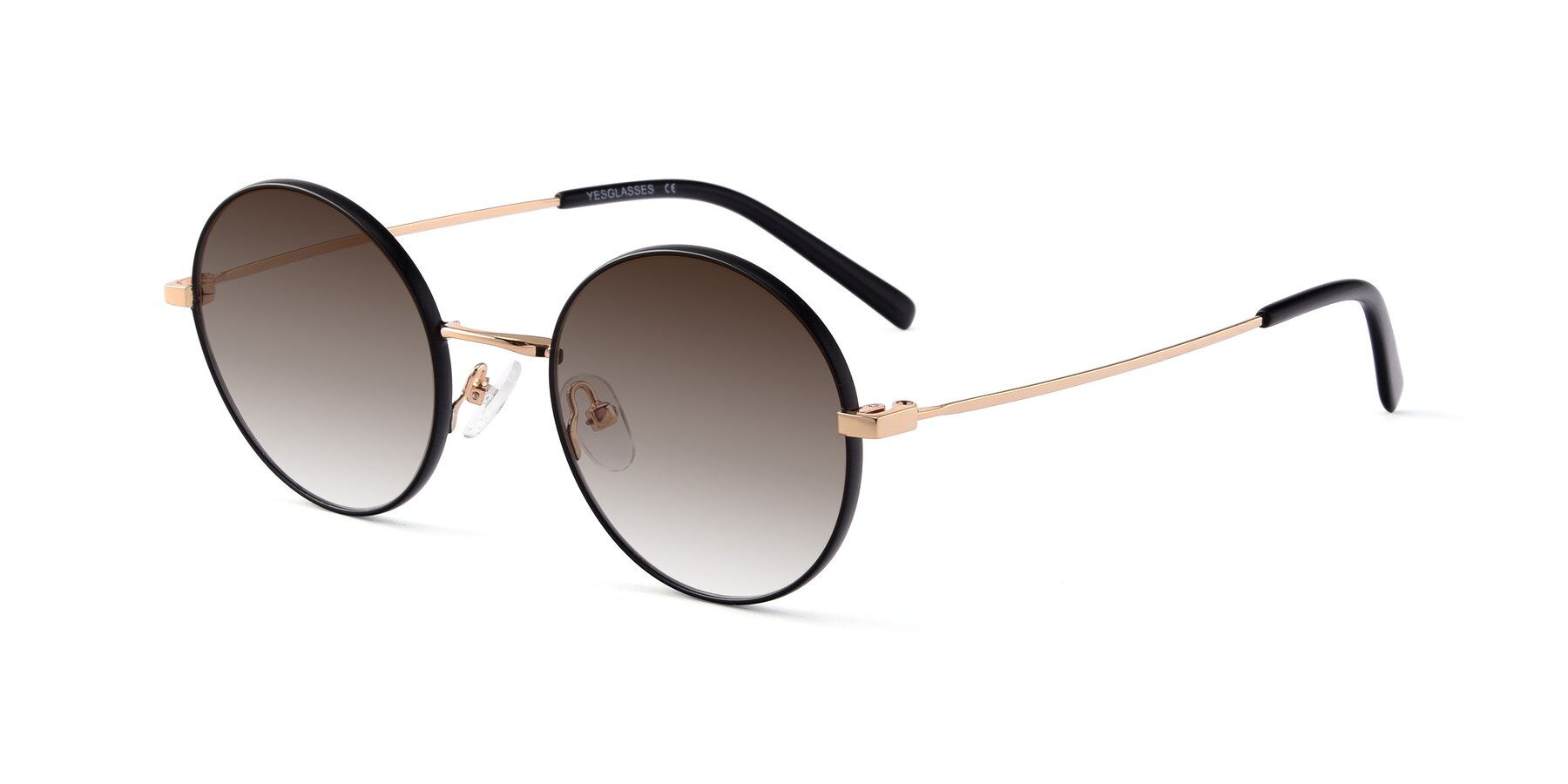 Angle of Moore in Black-Gold with Brown Gradient Lenses