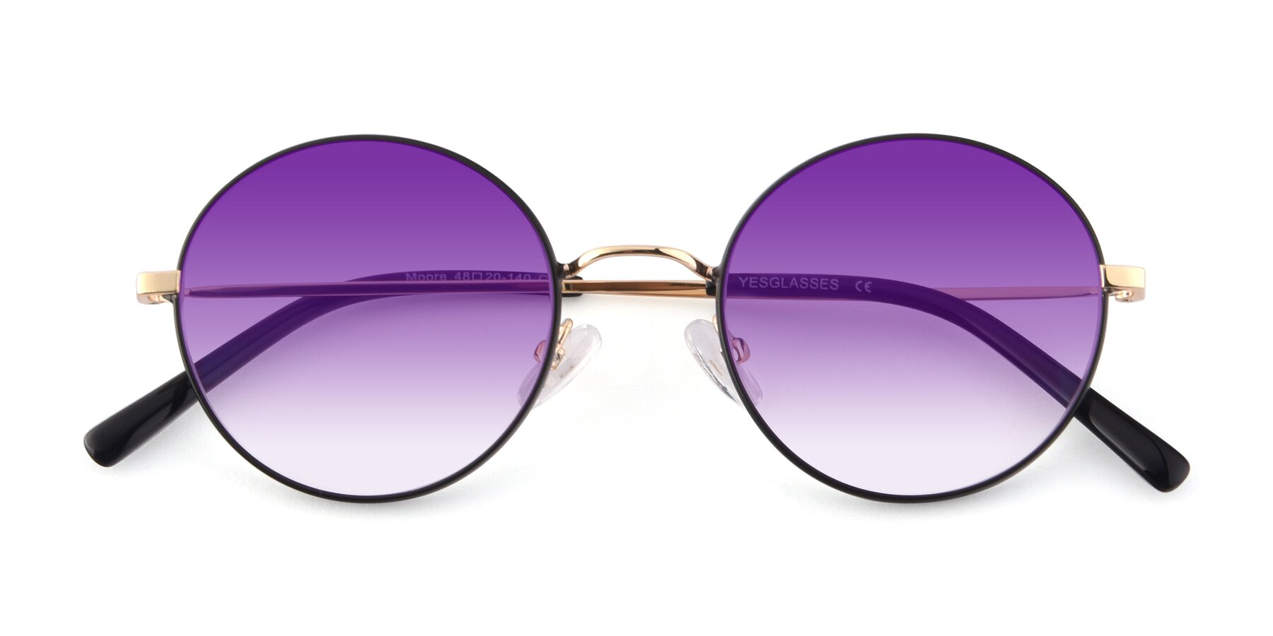 Folded Front of Moore in Black-Gold with Purple Gradient Lenses