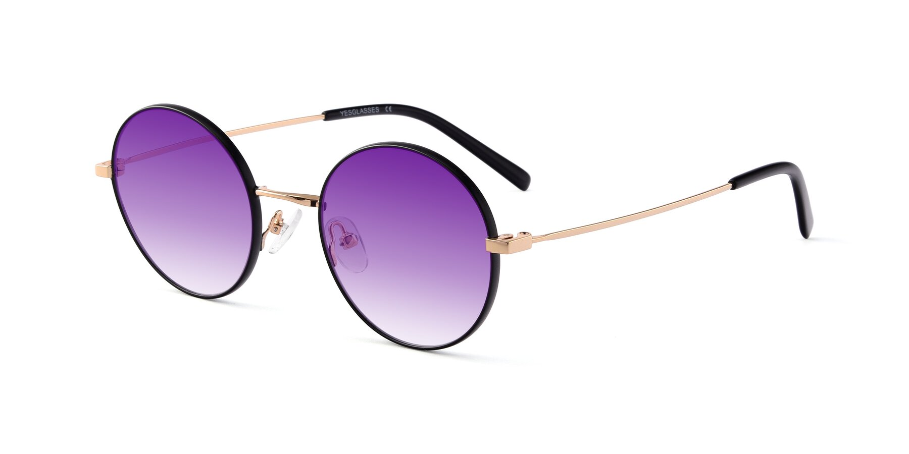 Angle of Moore in Black-Gold with Purple Gradient Lenses