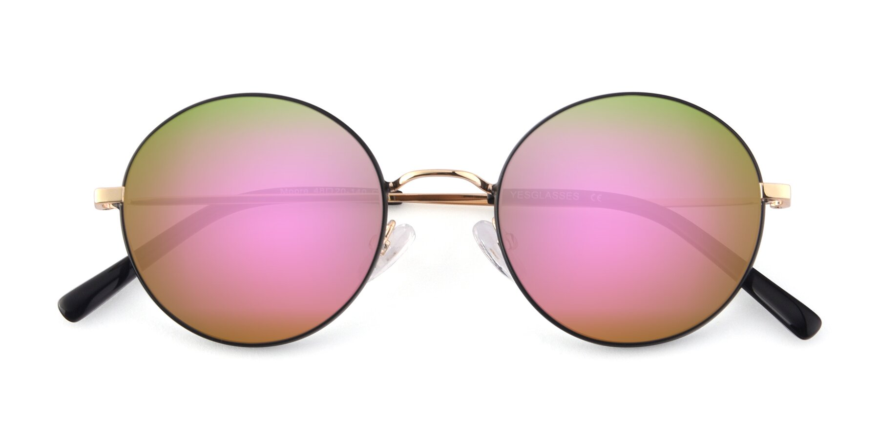 Folded Front of Moore in Black-Gold with Pink Mirrored Lenses