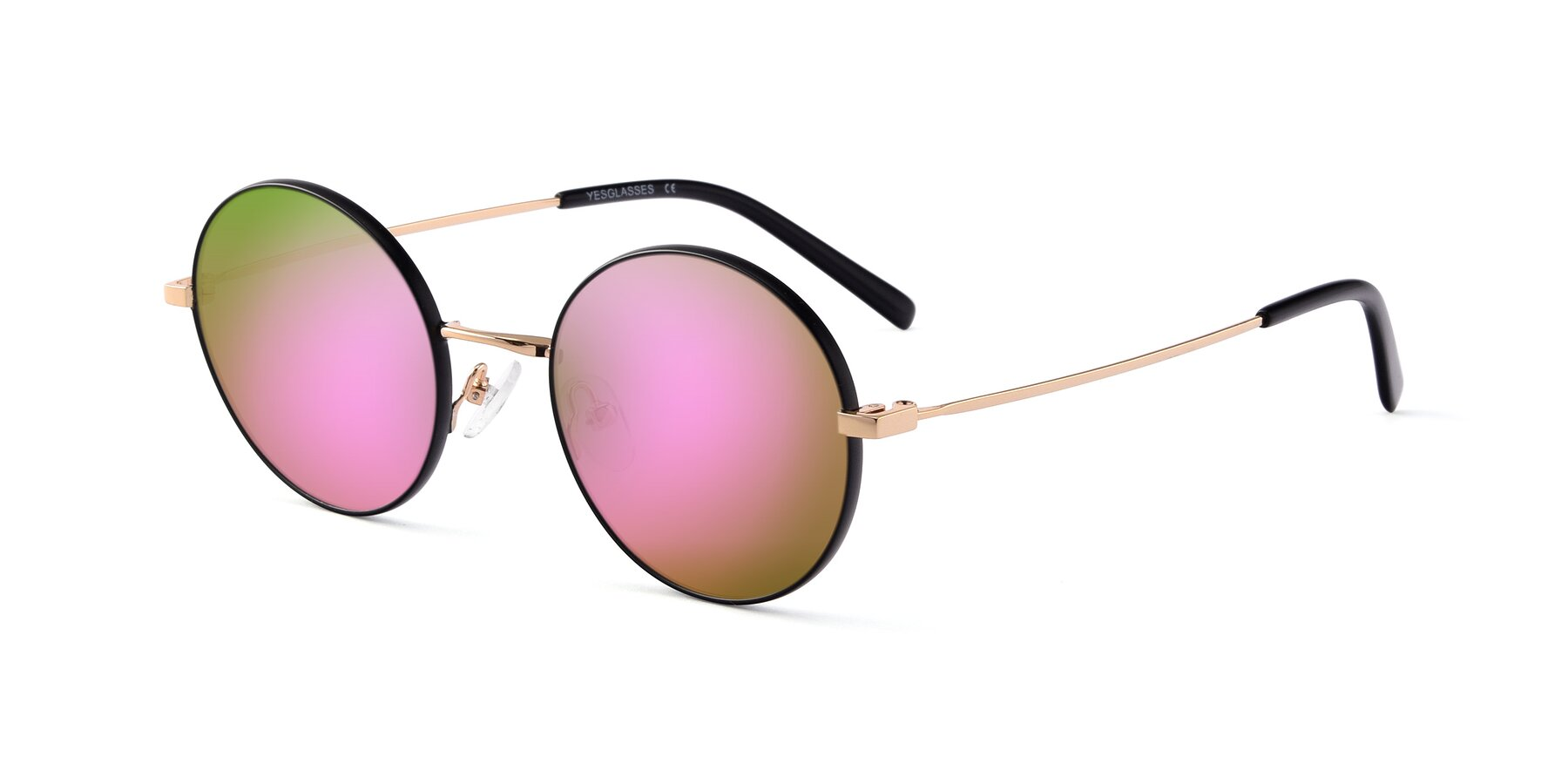 Angle of Moore in Black-Gold with Pink Mirrored Lenses