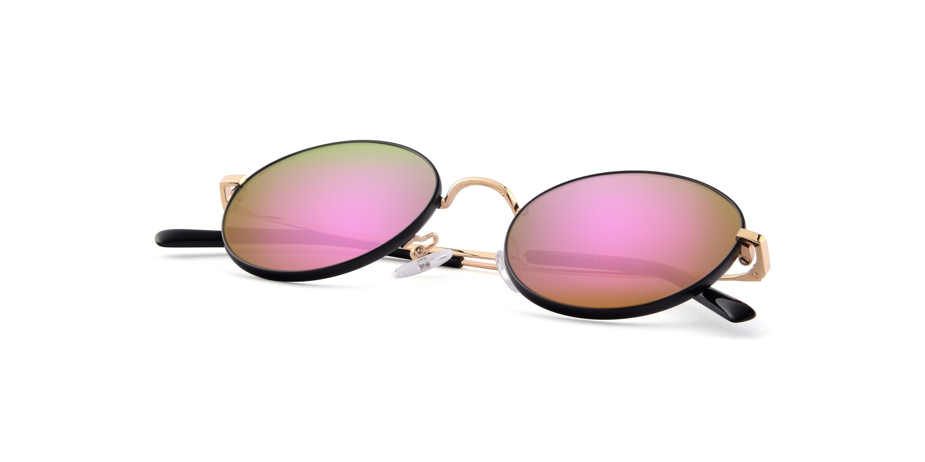 View of Moore in Black-Gold with Pink Mirrored Lenses