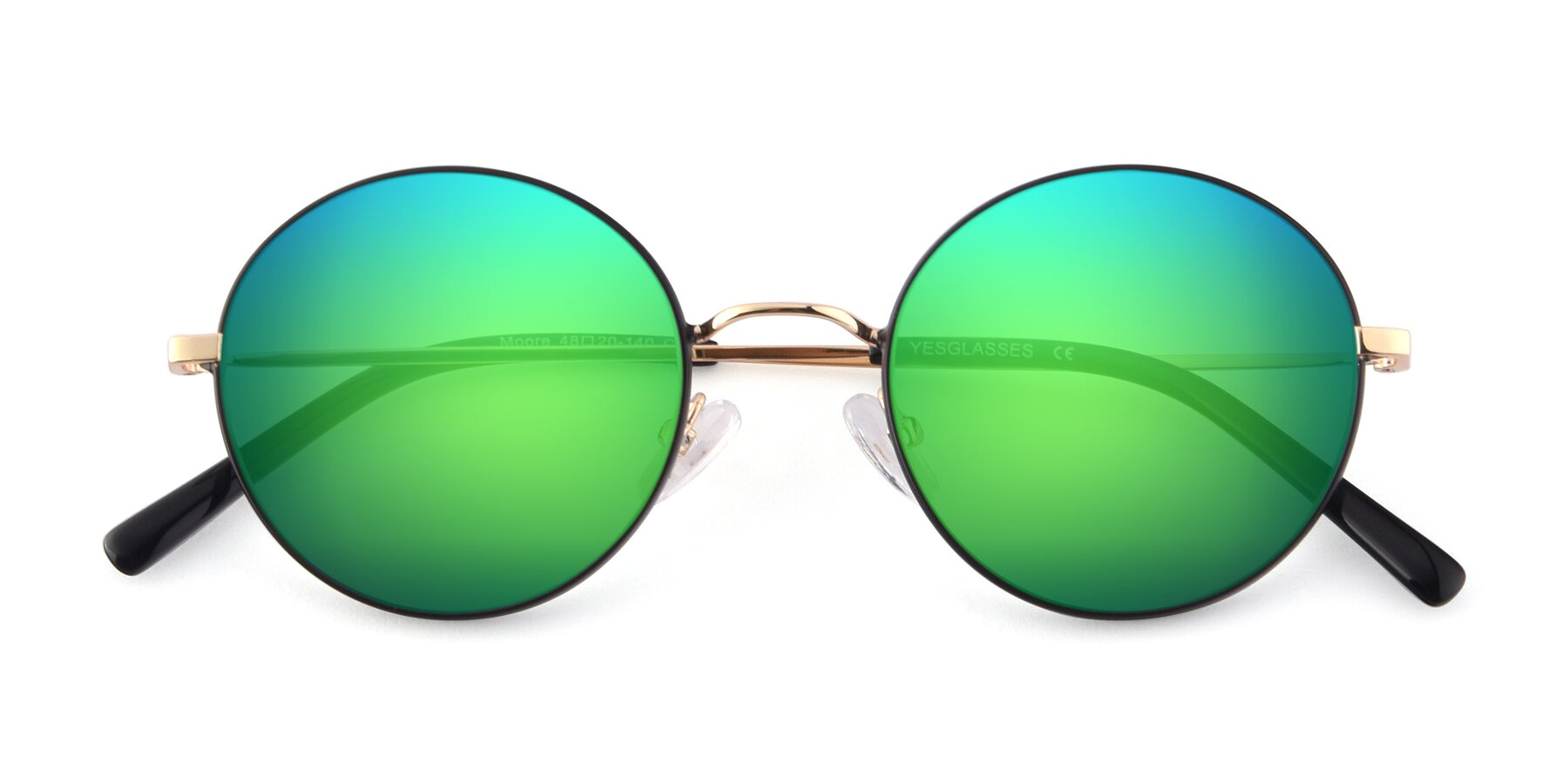 Folded Front of Moore in Black-Gold with Green Mirrored Lenses