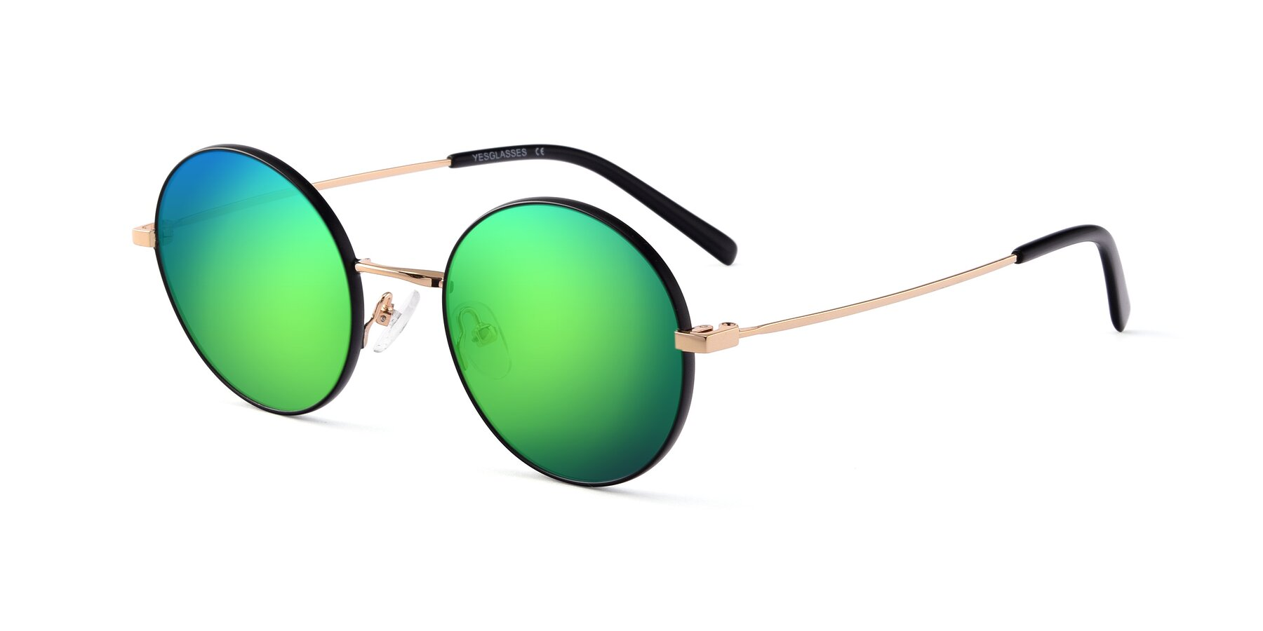 Angle of Moore in Black-Gold with Green Mirrored Lenses