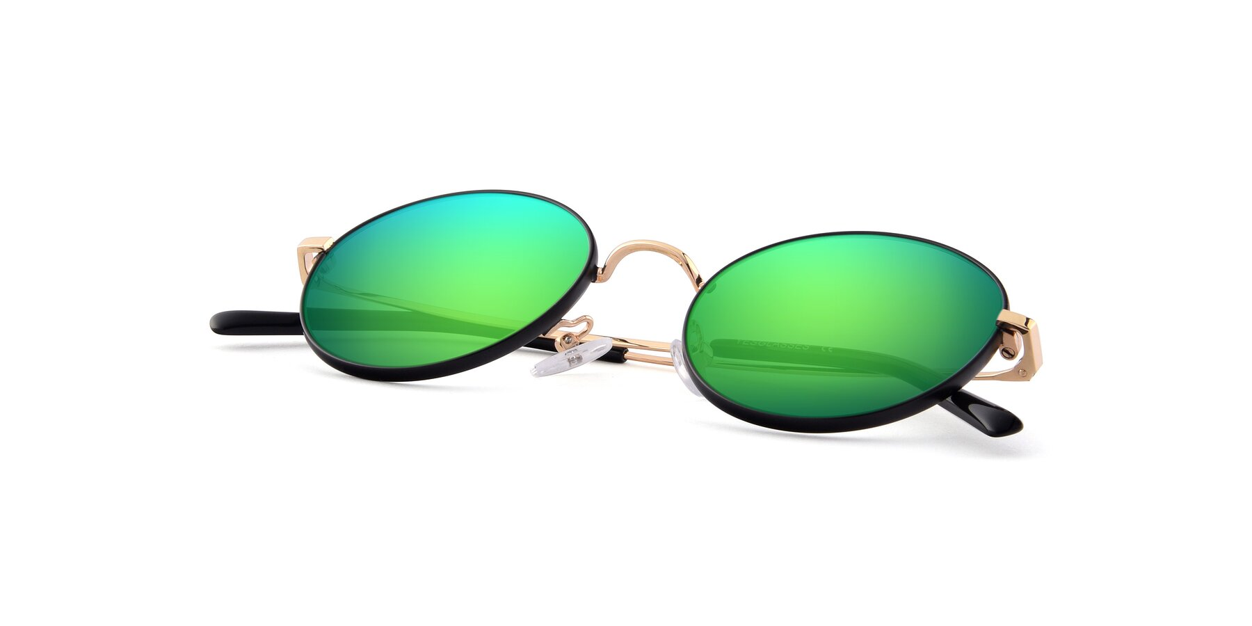 View of Moore in Black-Gold with Green Mirrored Lenses