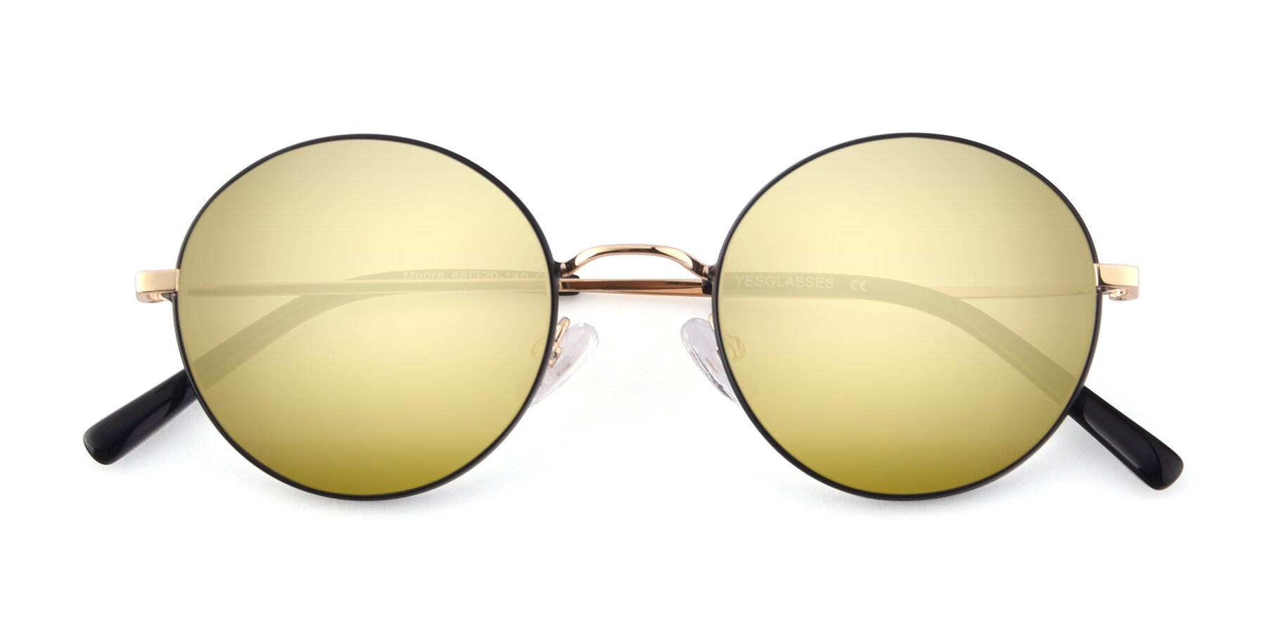 Folded Front of Moore in Black-Gold with Gold Mirrored Lenses
