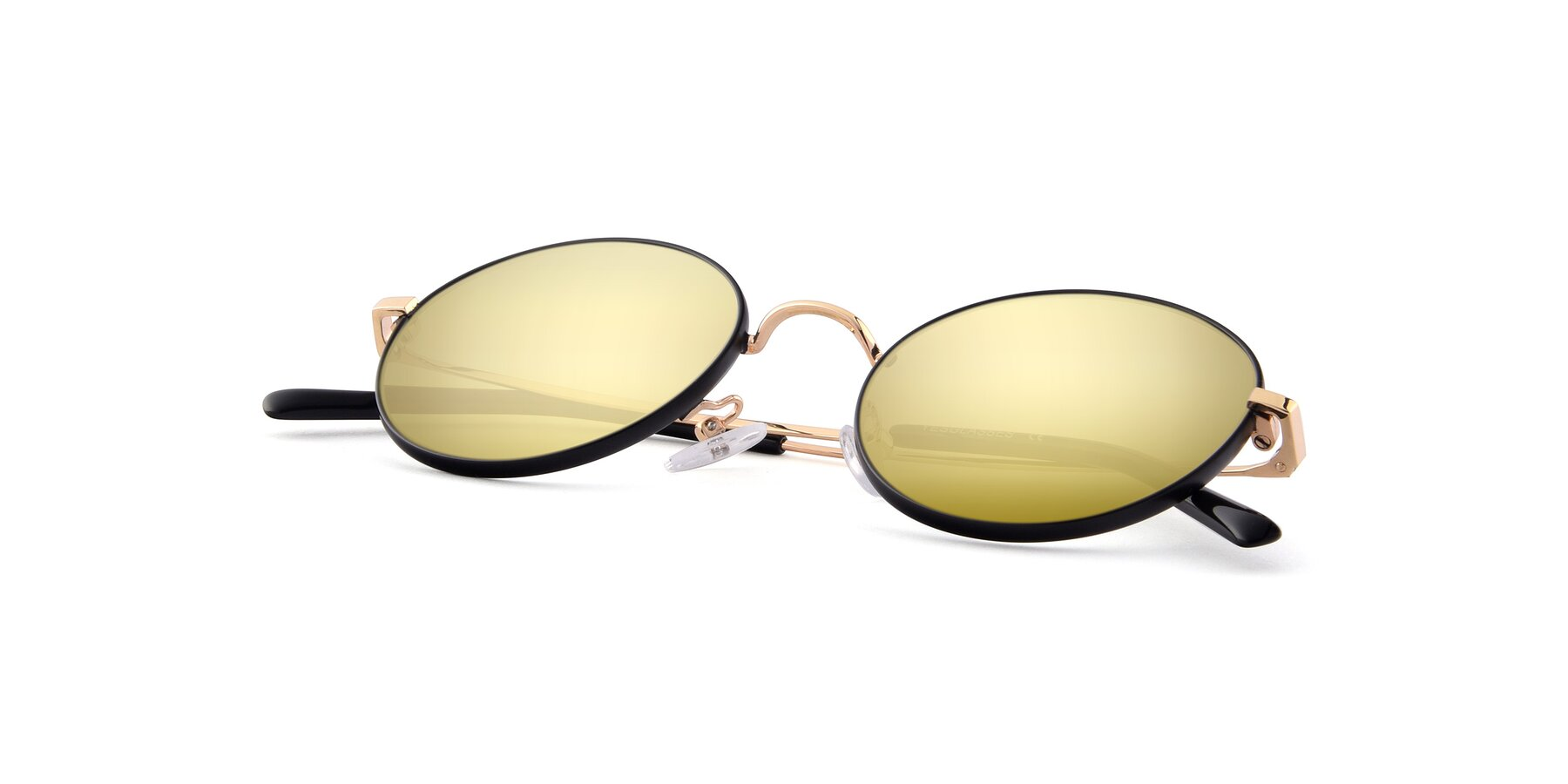 View of Moore in Black-Gold with Gold Mirrored Lenses