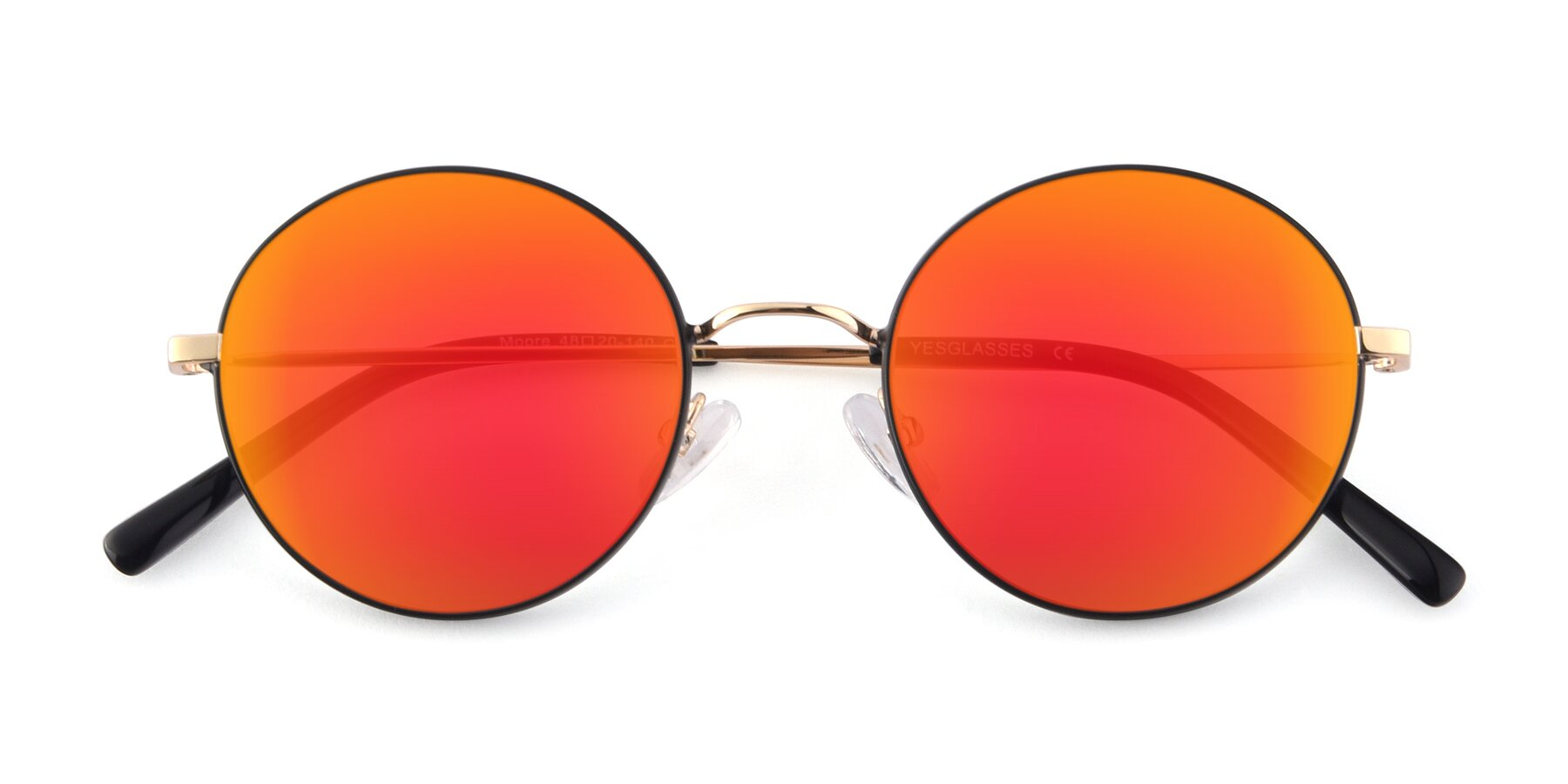 Folded Front of Moore in Black-Gold with Red Gold Mirrored Lenses