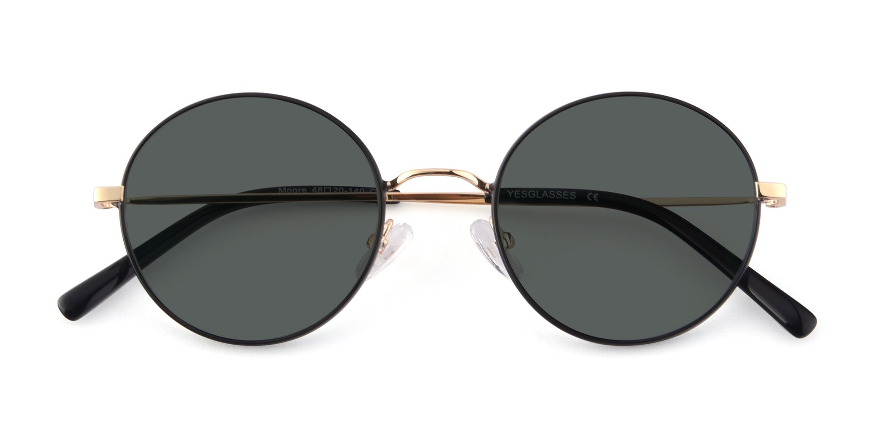 Folded Front of Moore in Black-Gold with Gray Polarized Lenses