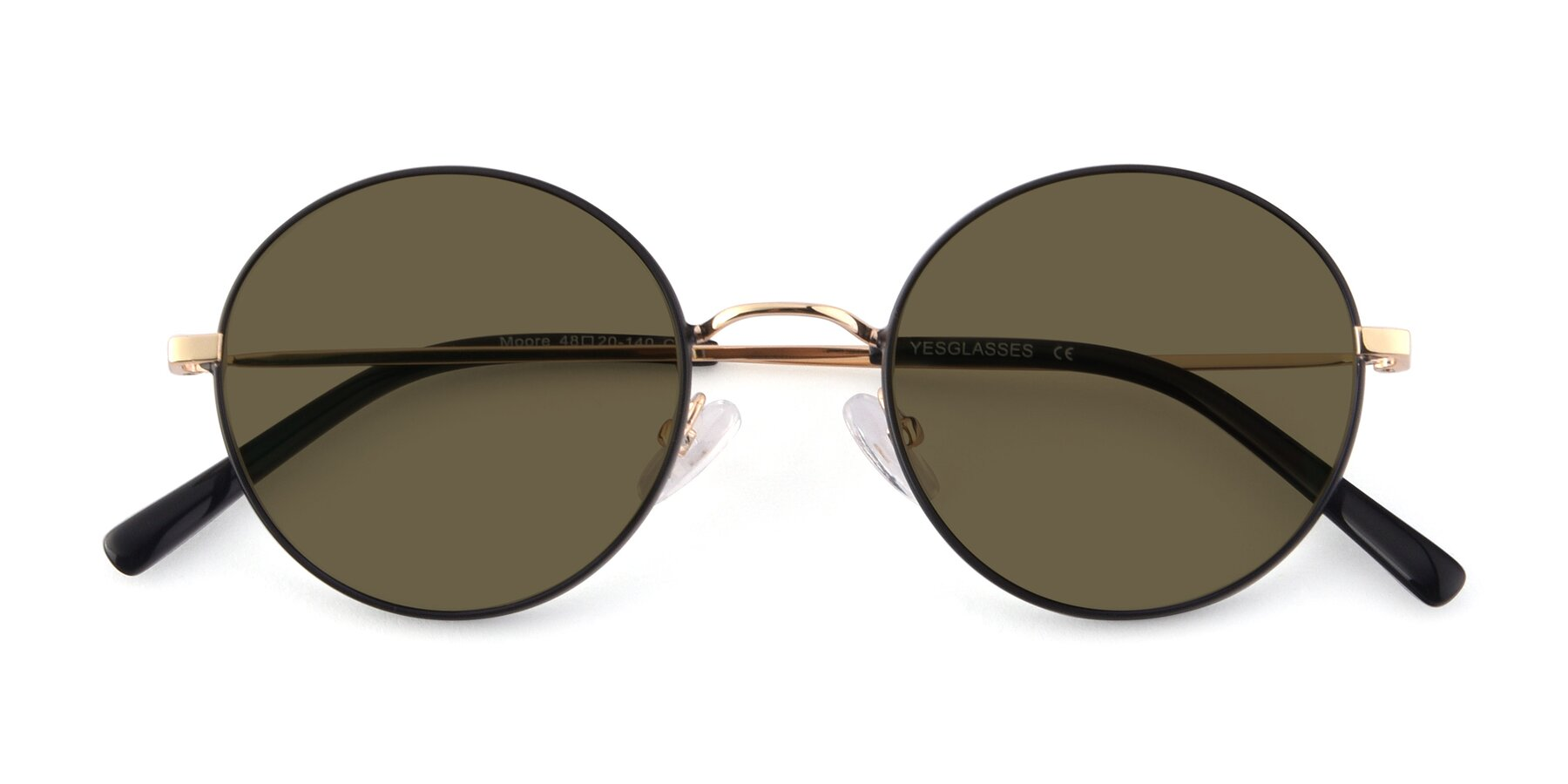 Folded Front of Moore in Black-Gold with Brown Polarized Lenses