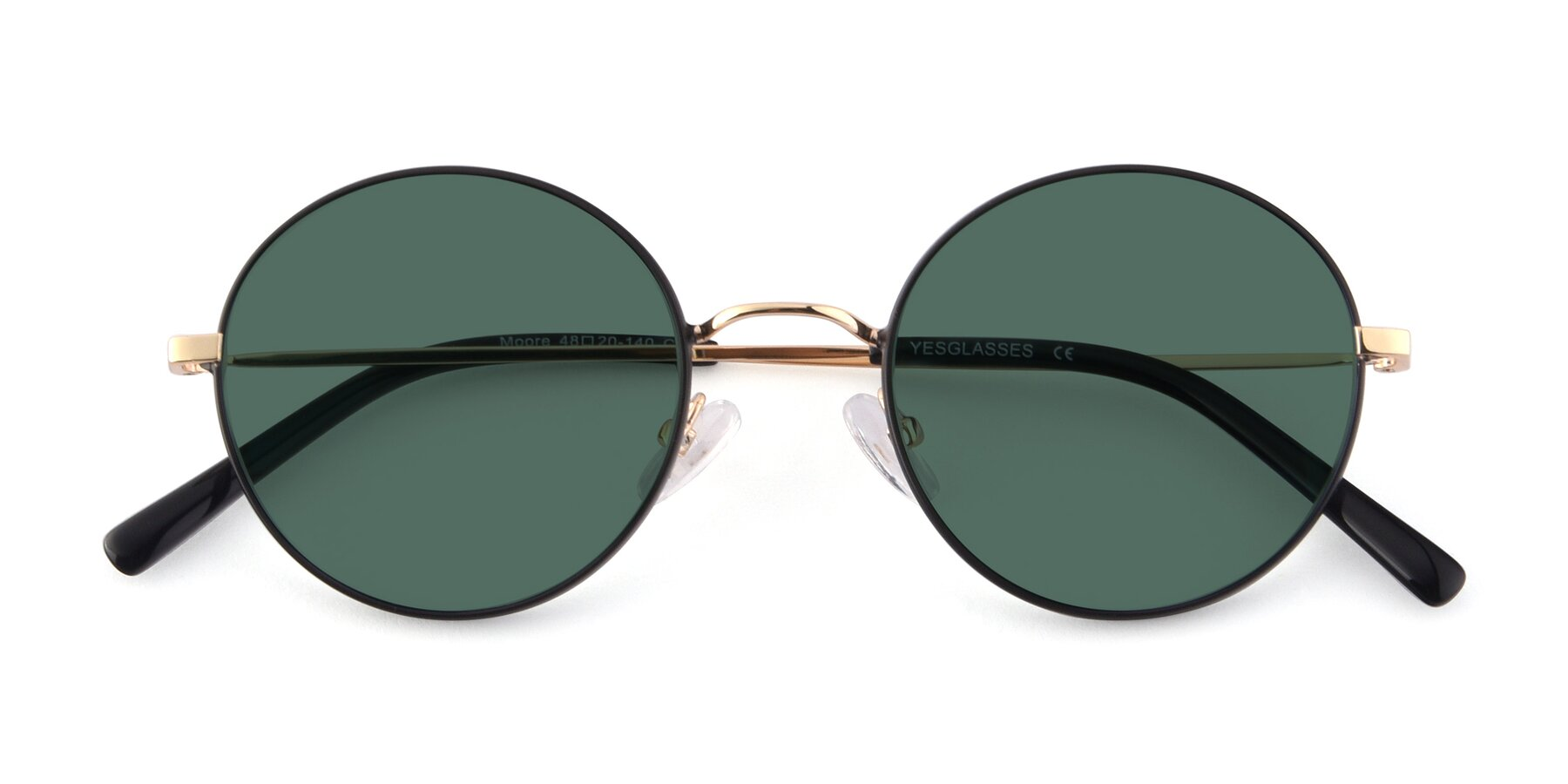 Folded Front of Moore in Black-Gold with Green Polarized Lenses