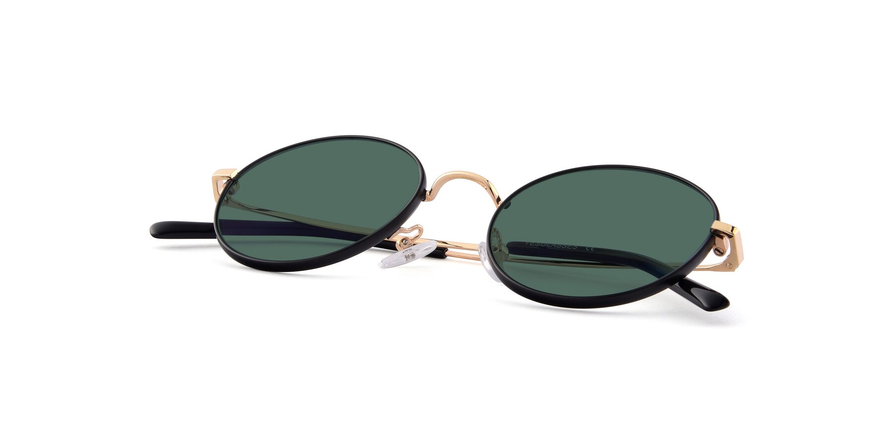 View of Moore in Black-Gold with Green Polarized Lenses