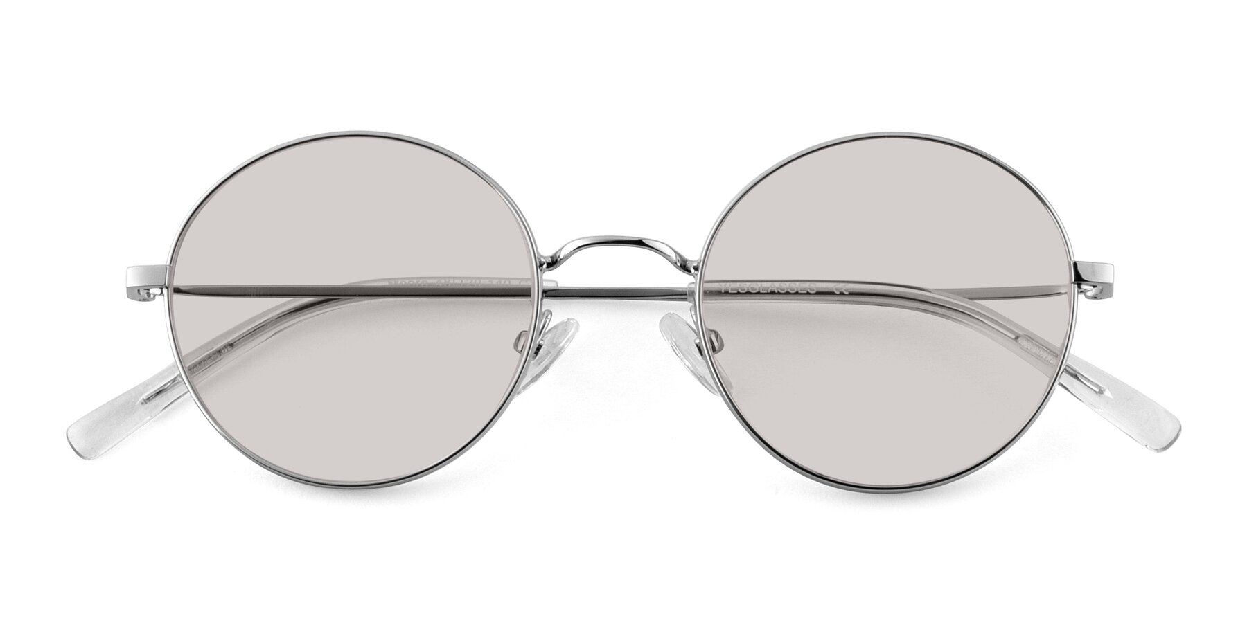 Folded Front of Moore in Sliver with Light Brown Tinted Lenses