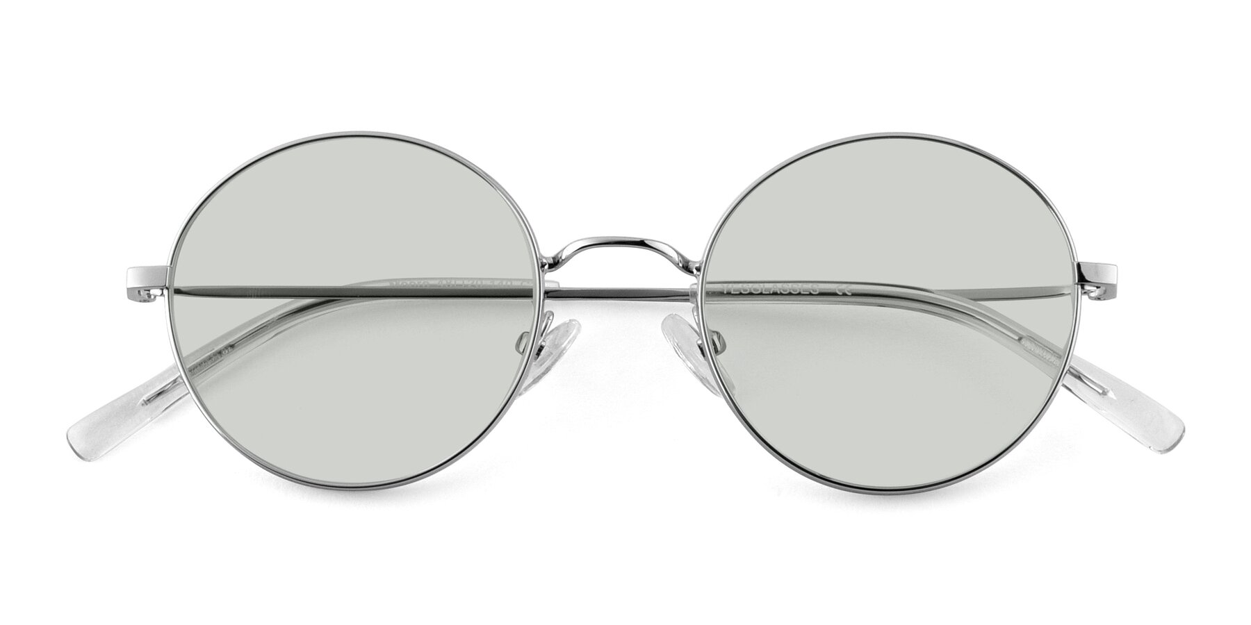Folded Front of Moore in Silver with Light Green Tinted Lenses