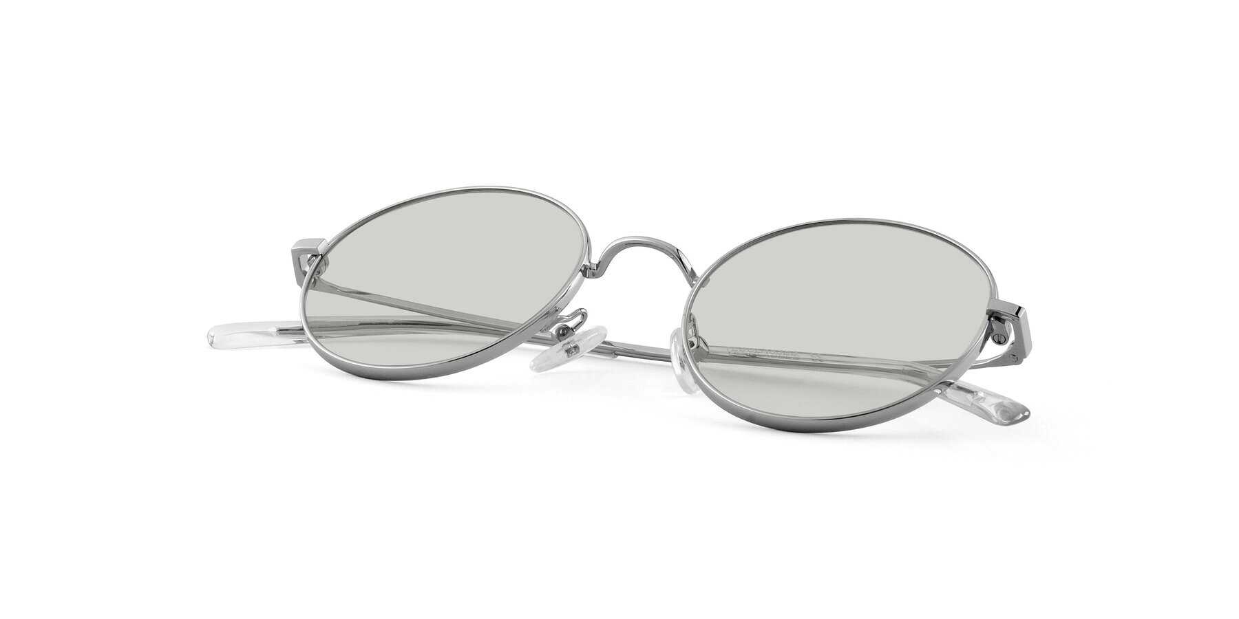 View of Moore in Silver with Light Green Tinted Lenses