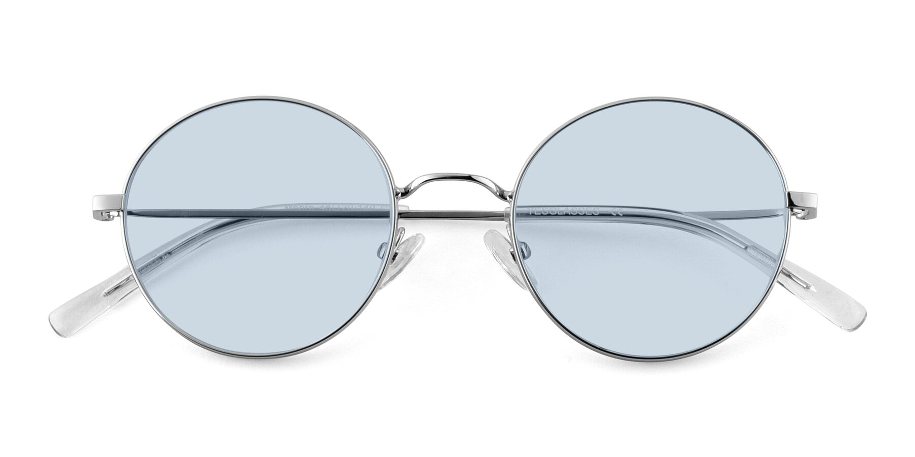 Folded Front of Moore in Sliver with Light Blue Tinted Lenses