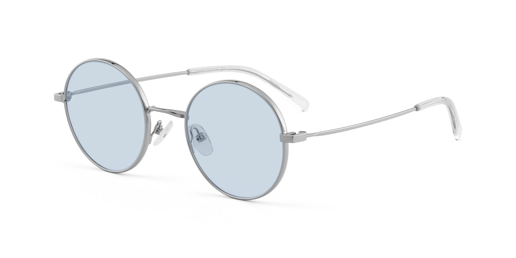 Angle of Moore in Sliver with Light Blue Tinted Lenses