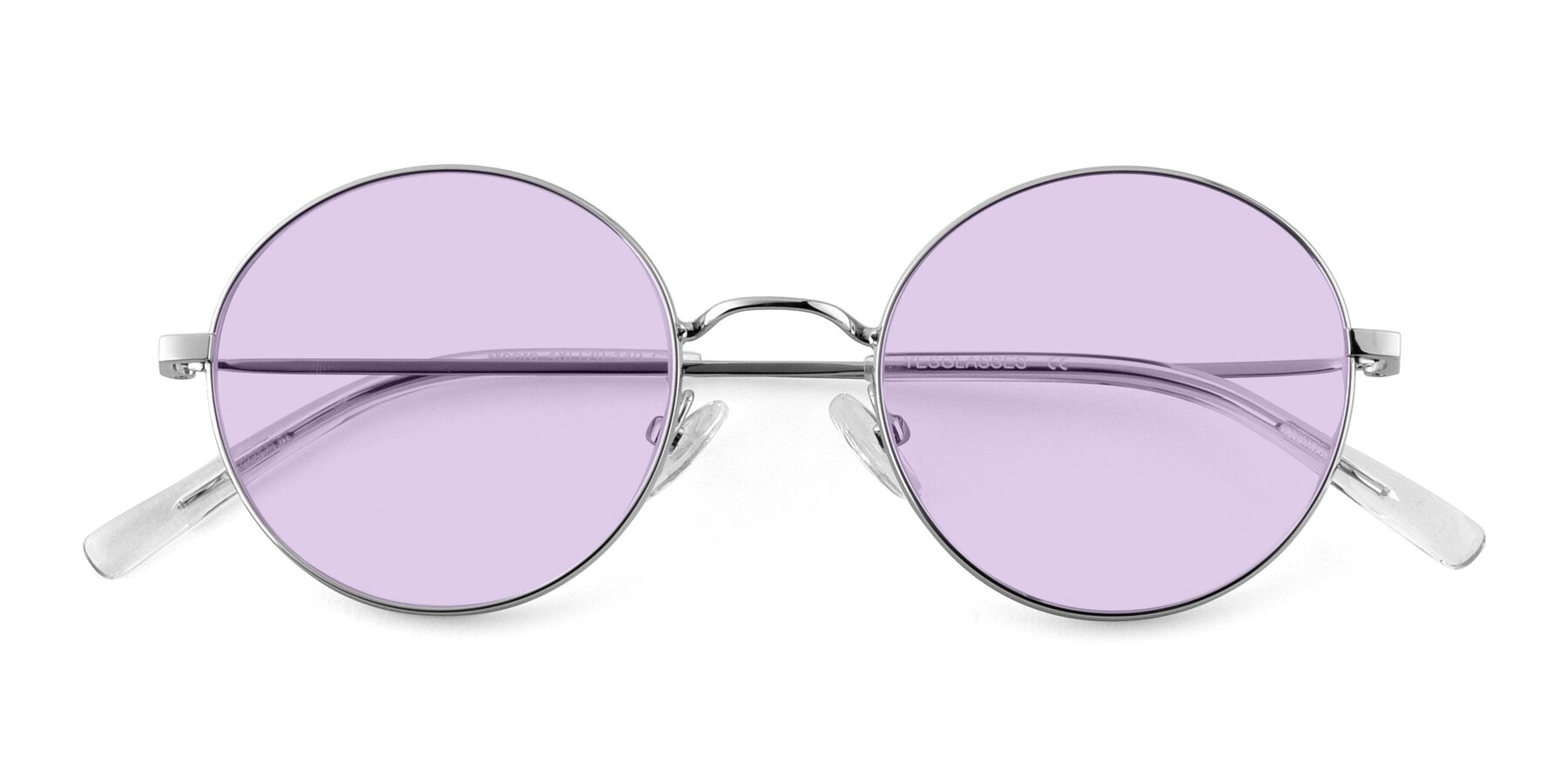 Folded Front of Moore in Sliver with Light Purple Tinted Lenses